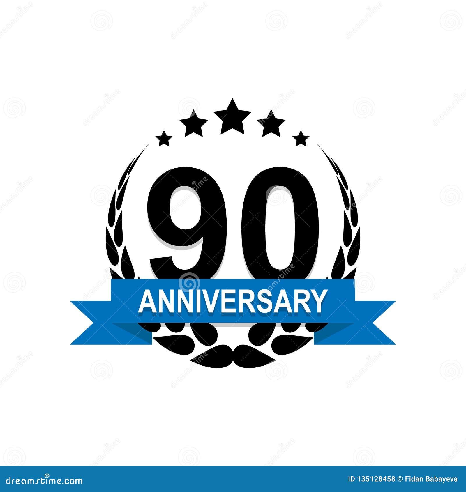Aniversário, 90 anos de ícone colorido Pode ser usado para a Web, logotipo, app móvel, UI, UX