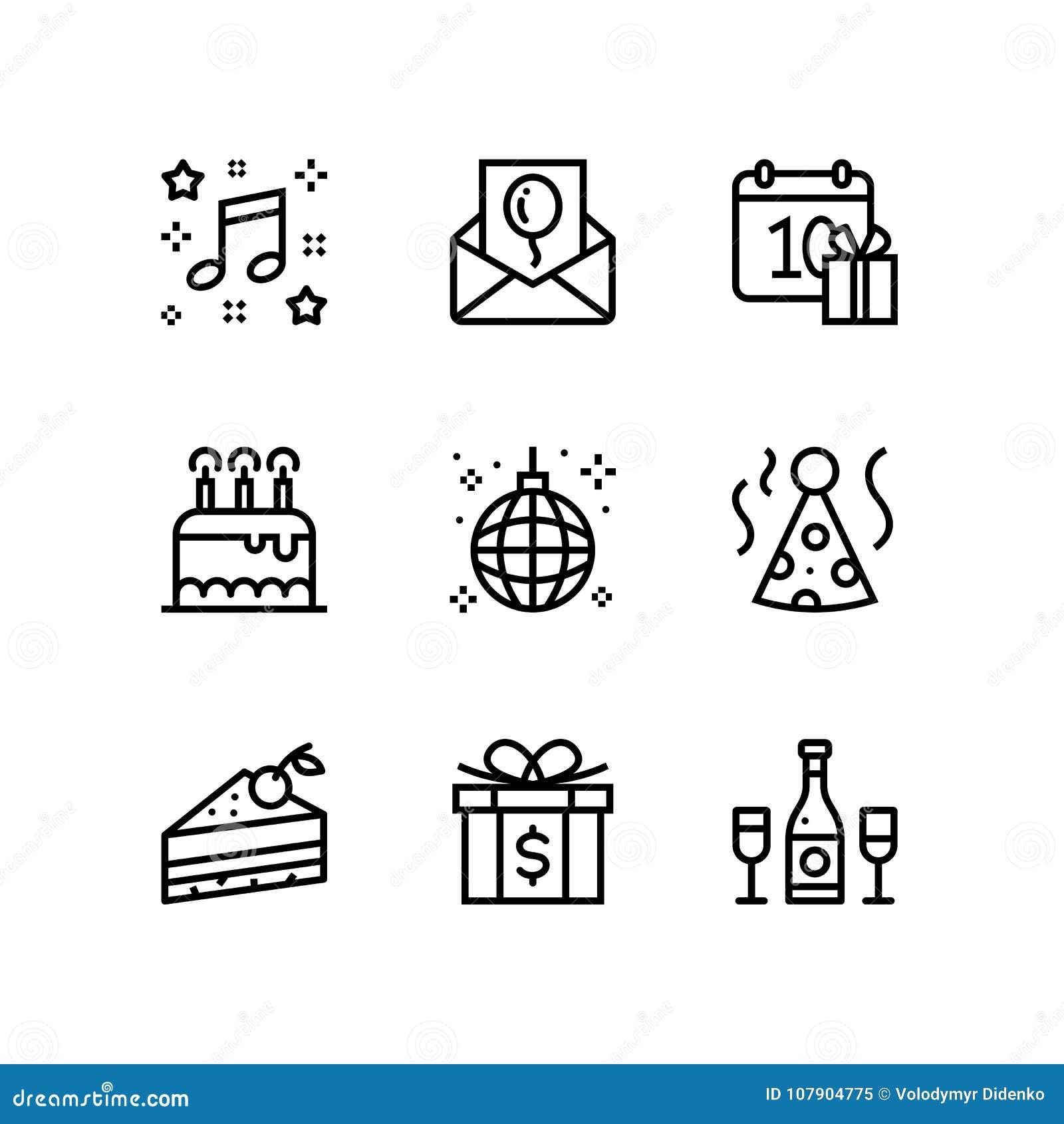 Aniversário, evento, ícones simples do vetor da celebração para a Web e bloco móvel 3 do projeto
