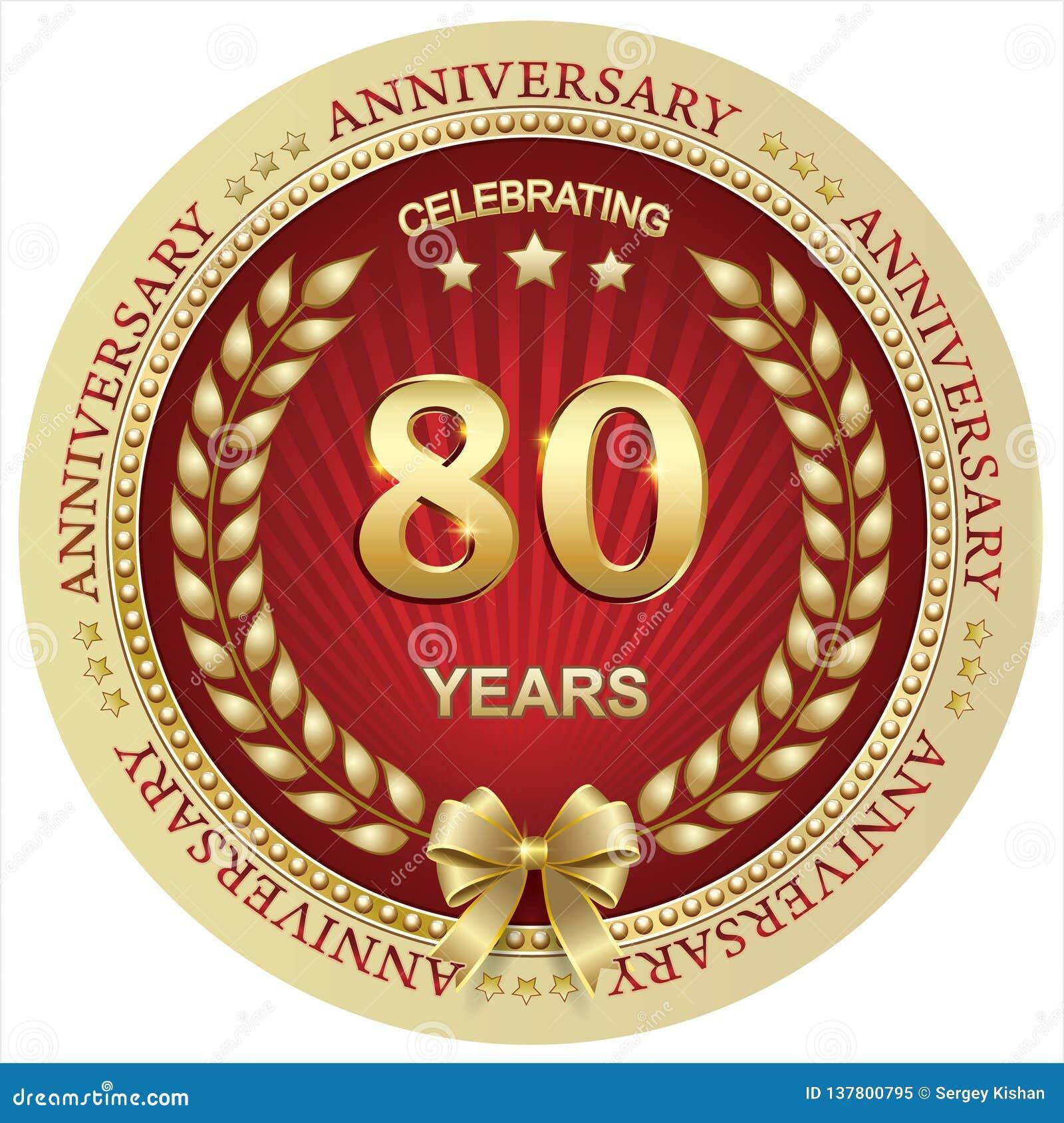 Aniversario 80 Años Cumpleaños Fondo Celebración Tarjeta