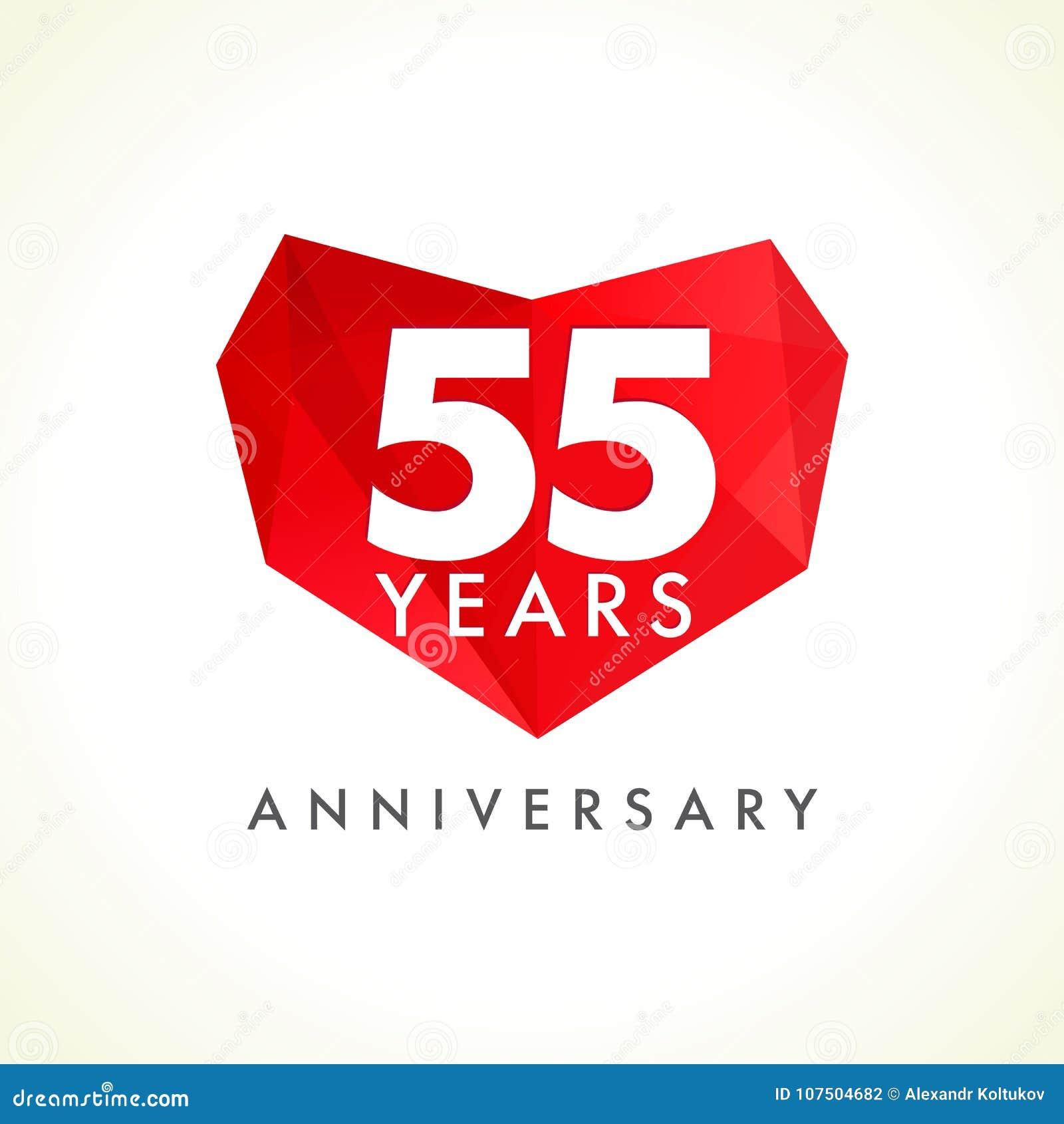 Aniversario 55 años que celebran el logotipo con los corazones