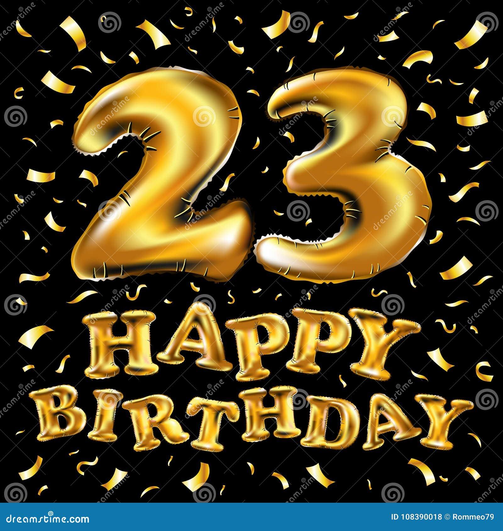 Aniversario 23 Con Los Fuegos Artificiales Y El Oro Brillante En