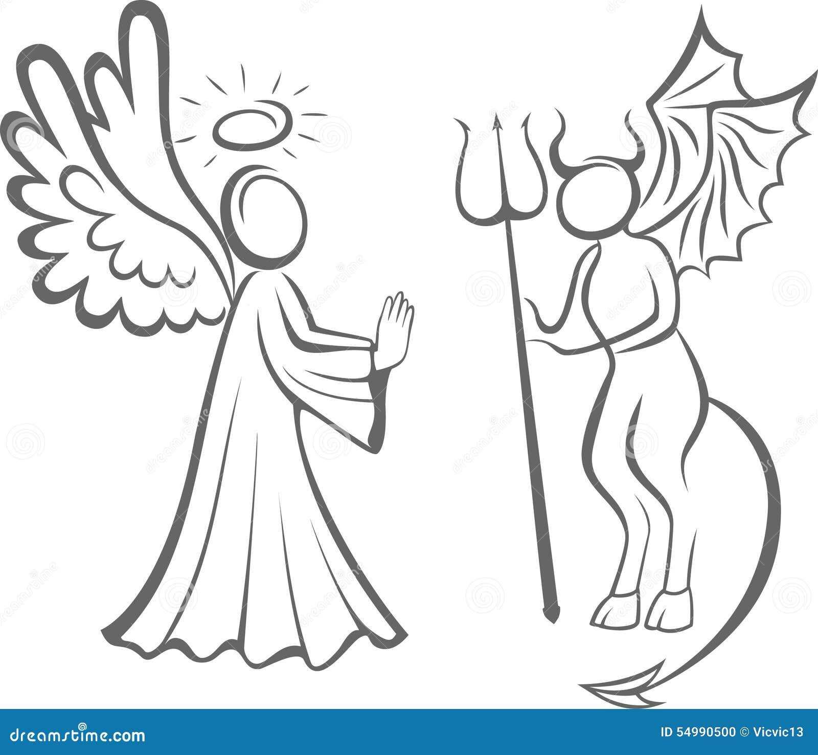 Anjo e diabo Bom contra o mal tomada de decisão