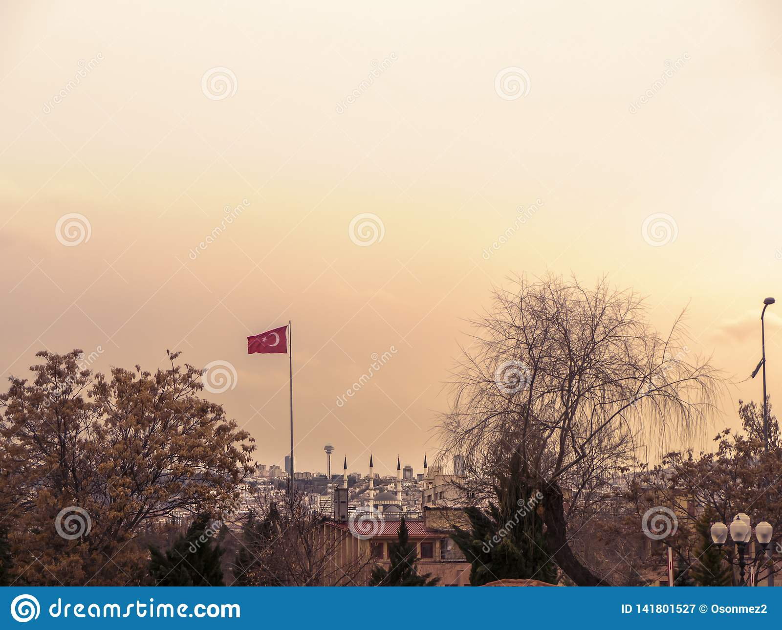 Ankara capital of the turkey and views with the Turkish flag