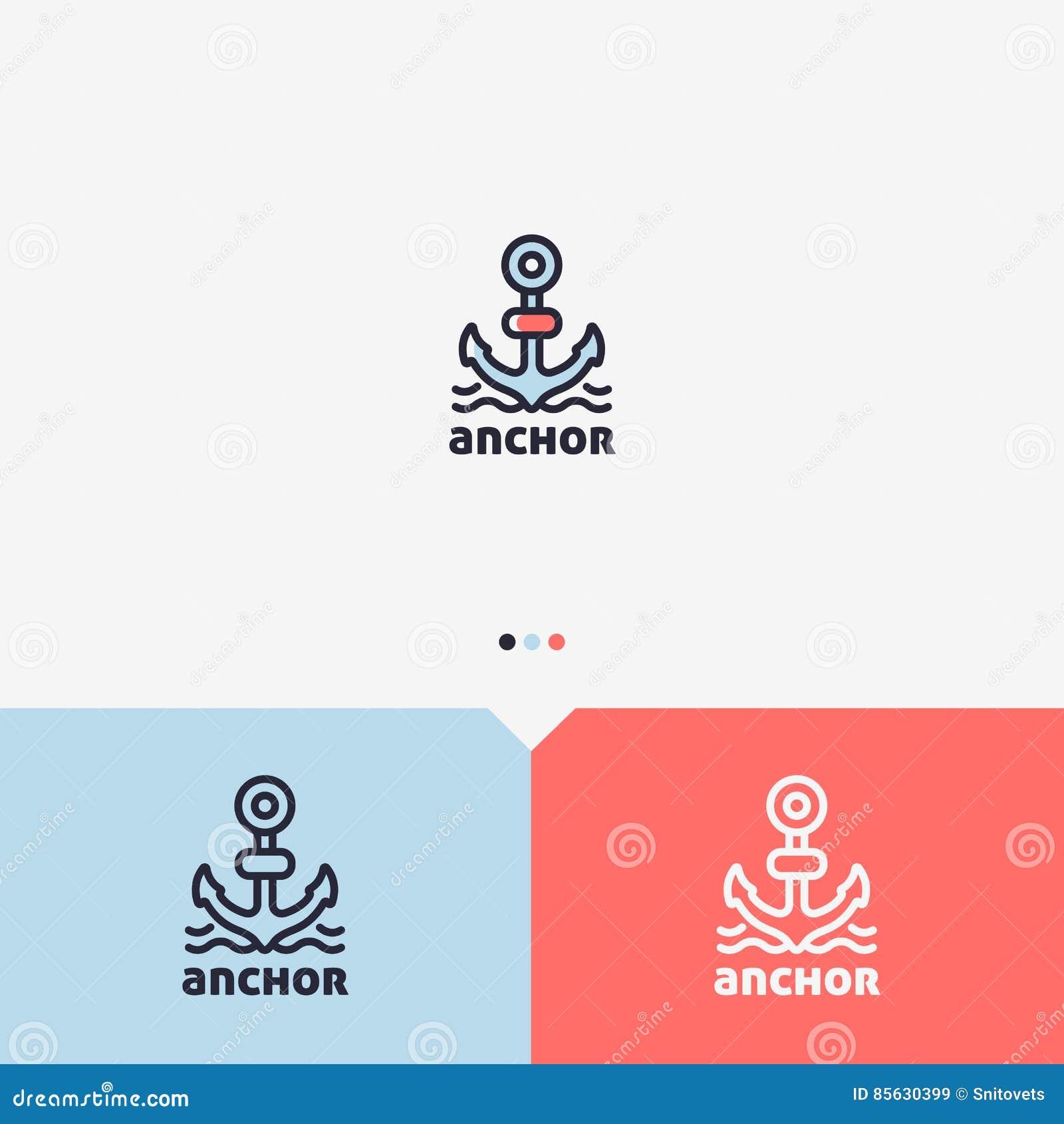 Anker Logo Design Template Einfache Und Saubere Entwurfs-Art Farbe ...