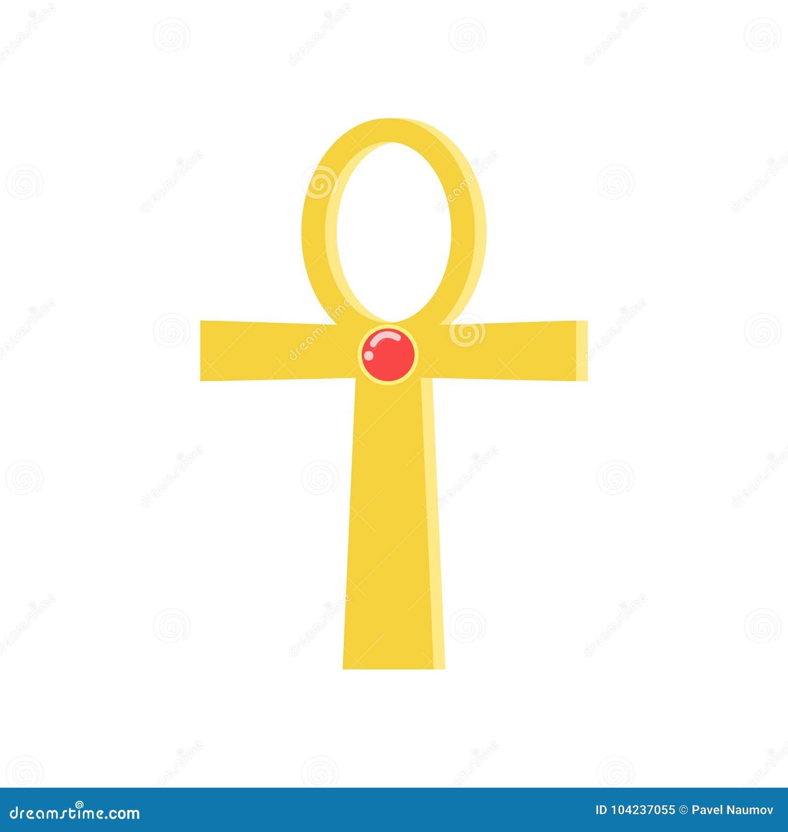 Ankh cruza, la muestra religiosa de la cruz egipcia antigua, símbolo de la vida, vector egipcio tradicional de la cultura