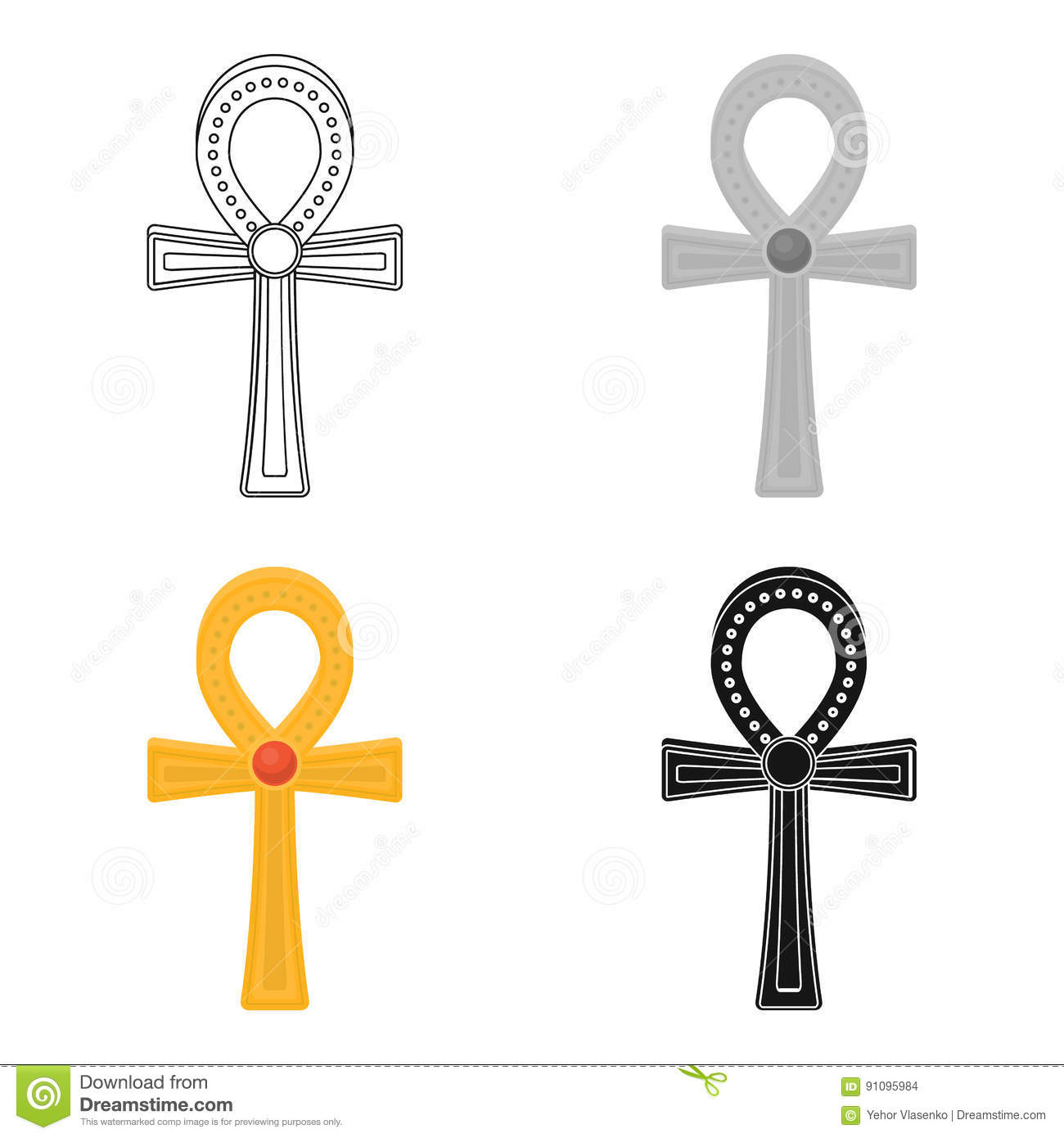 Ankh Icon In Cartoon Style Isolated On White Background