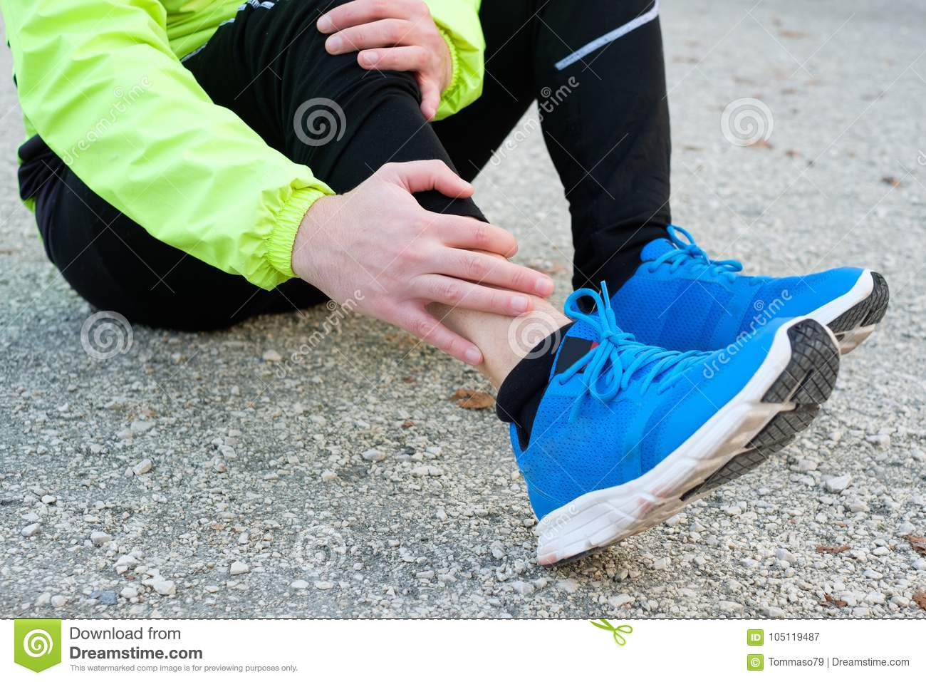 Ankle Injury And Man Runner Exercising With Leg Pain Stock Image