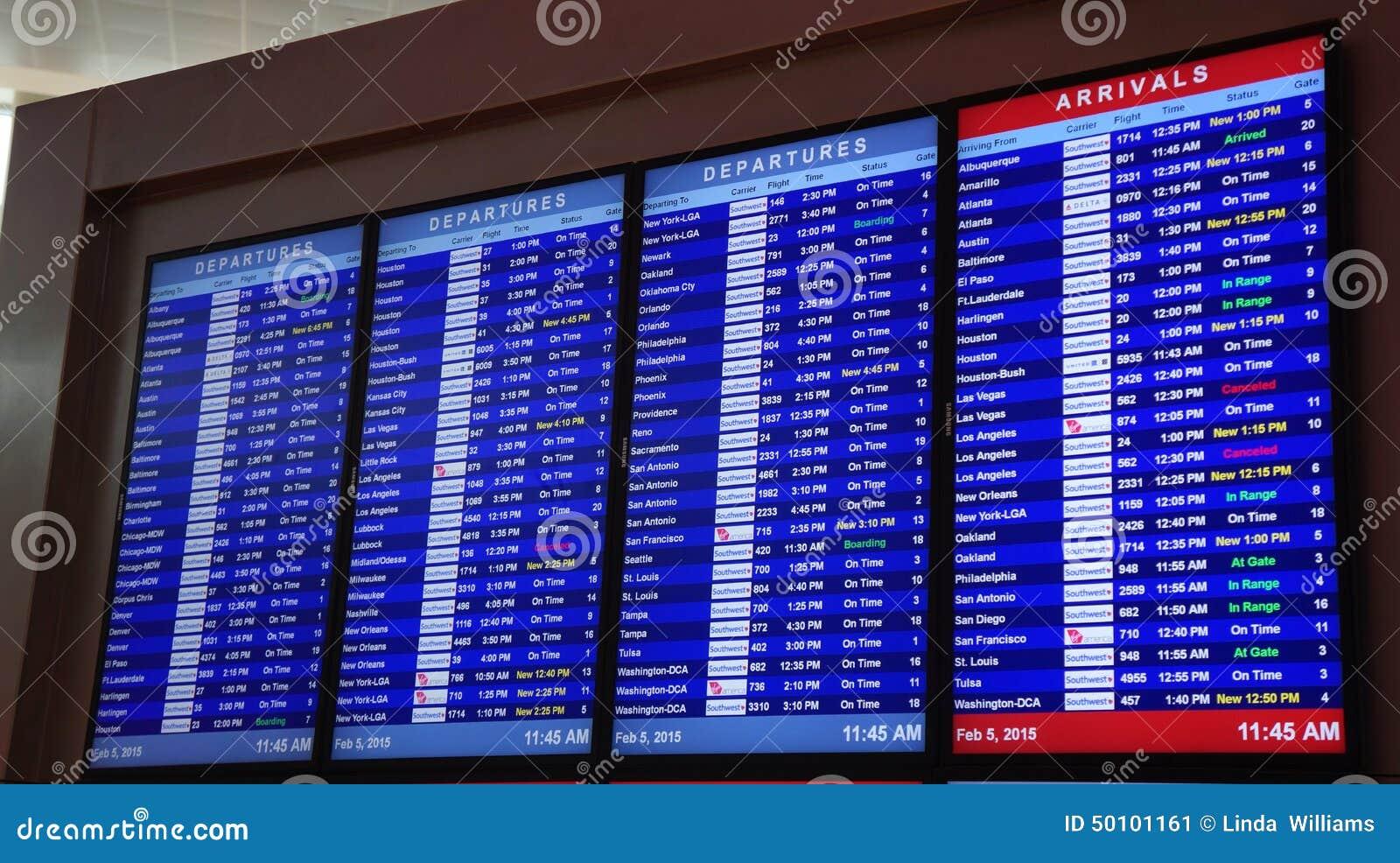 Ankomster och avvikelser av flyg i Dallas