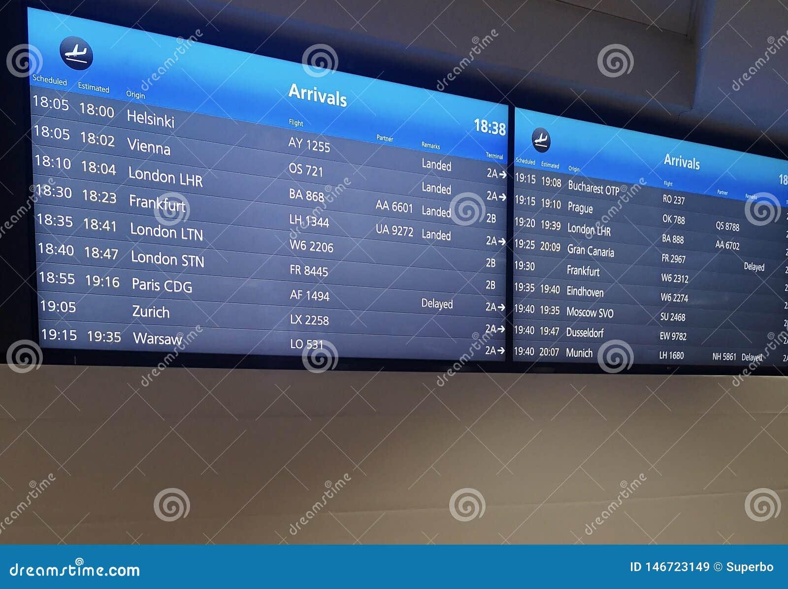 Ankomster visar br?det p? flygplatsterminalen som visar internationella destinationsflyg till n?gra av v?rldens popul?raste st?de