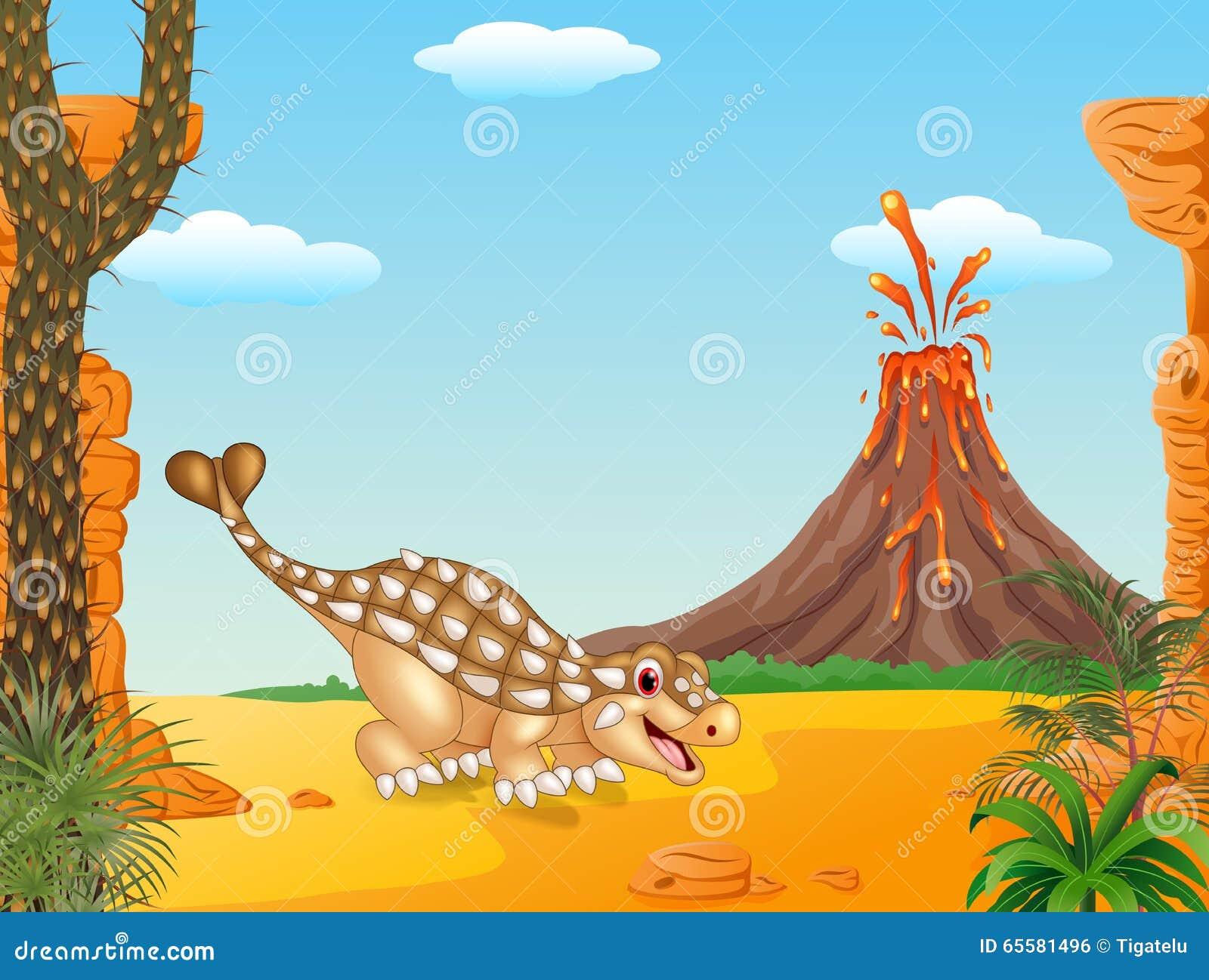 Ankylosaurus bonito no fundo pré-histórico