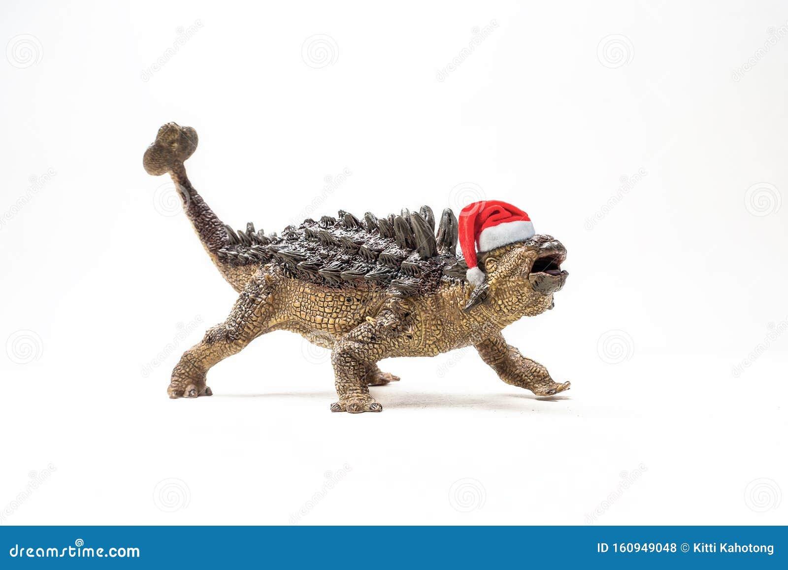 Ankylosaurus Dinosaur With Christmas Hat On White ...