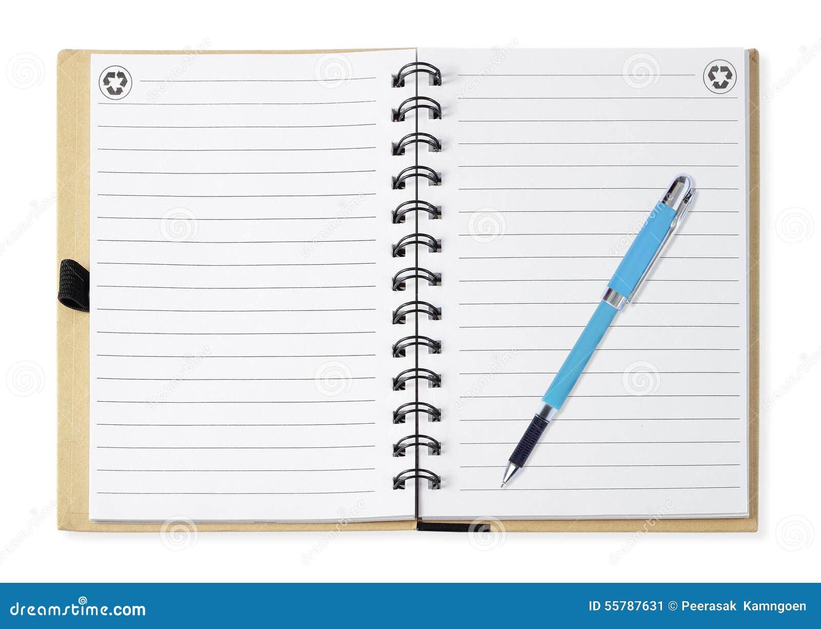 Anmärkningsboken med blått skriver, isolerat på vit