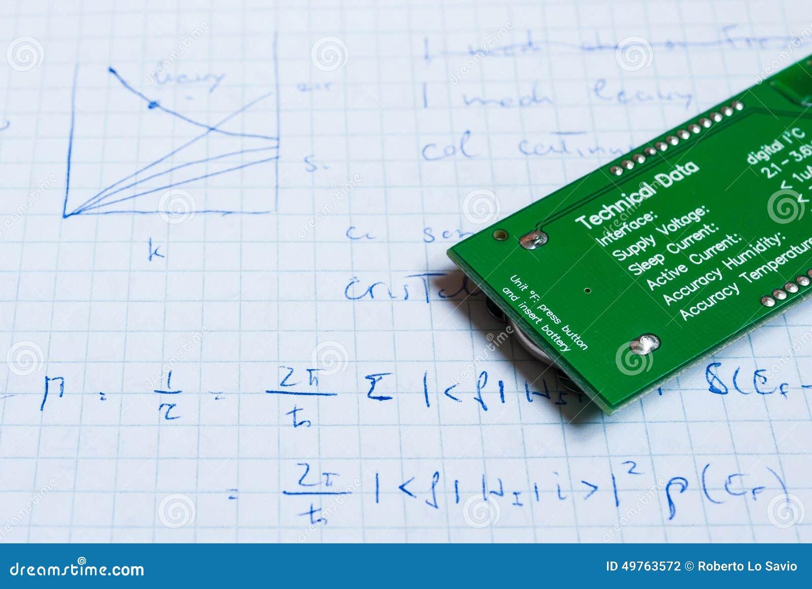 Anmerkungen Für Elektrische Stromkreise Stockfoto - Bild von ...