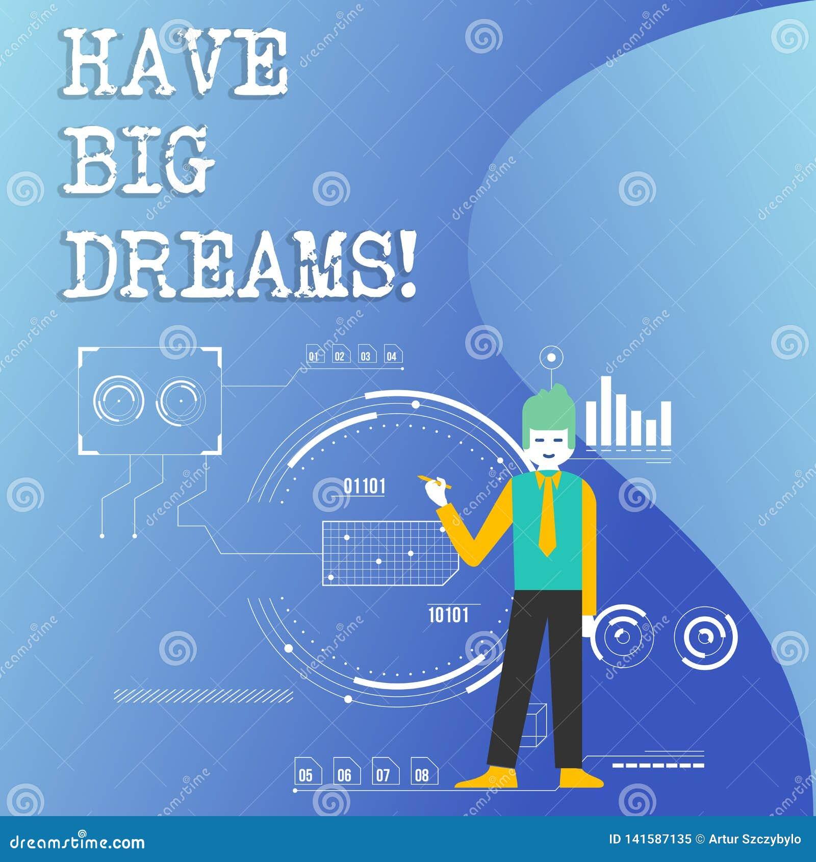 Anmerkungsvertretung schreibend, haben Sie große Träume Geschäftsfoto zur Schau stellender zukünftiger Ehrgeiz Desire Motivation
