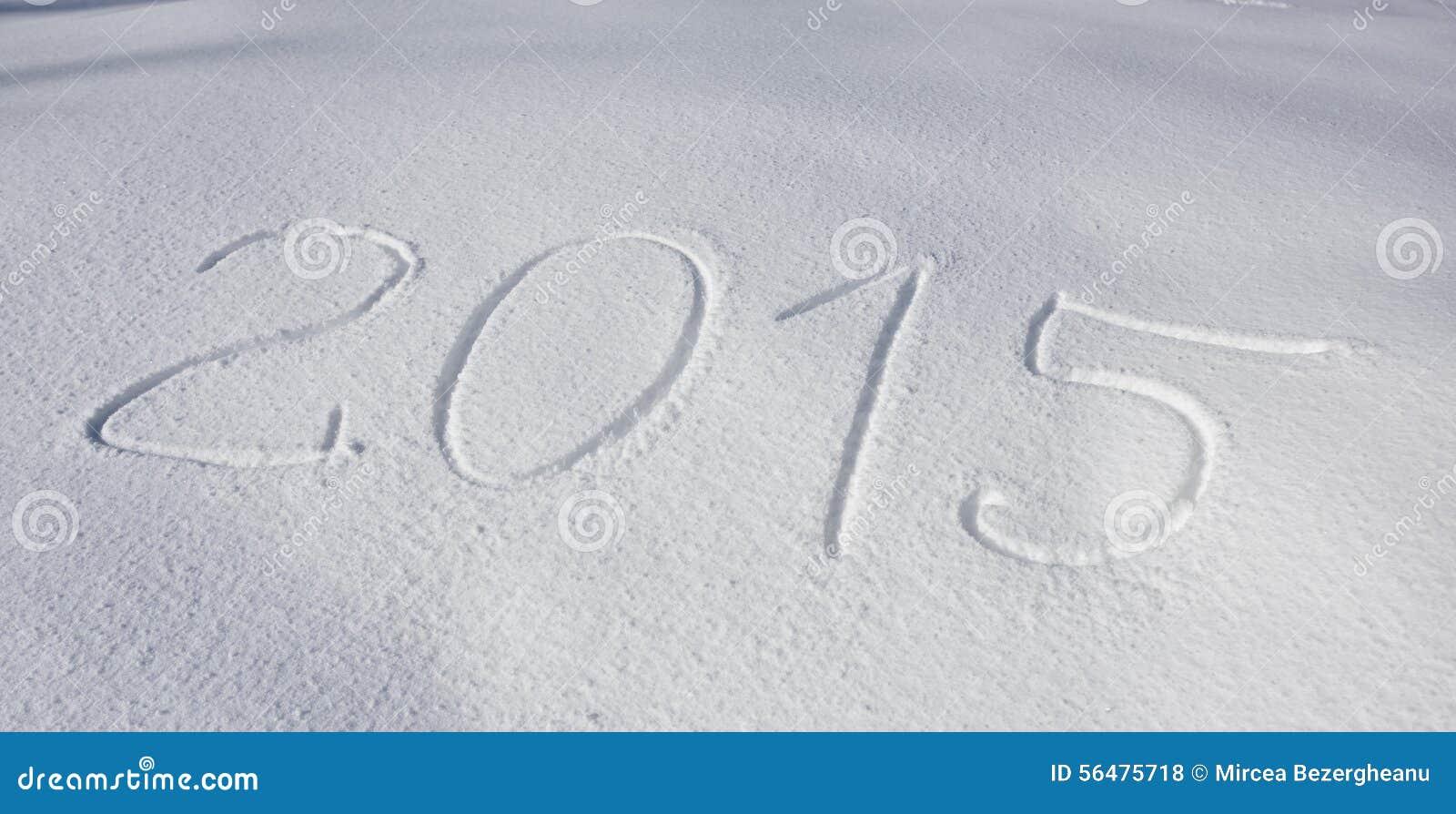 Année 2015 écrite au-dessus de la neige