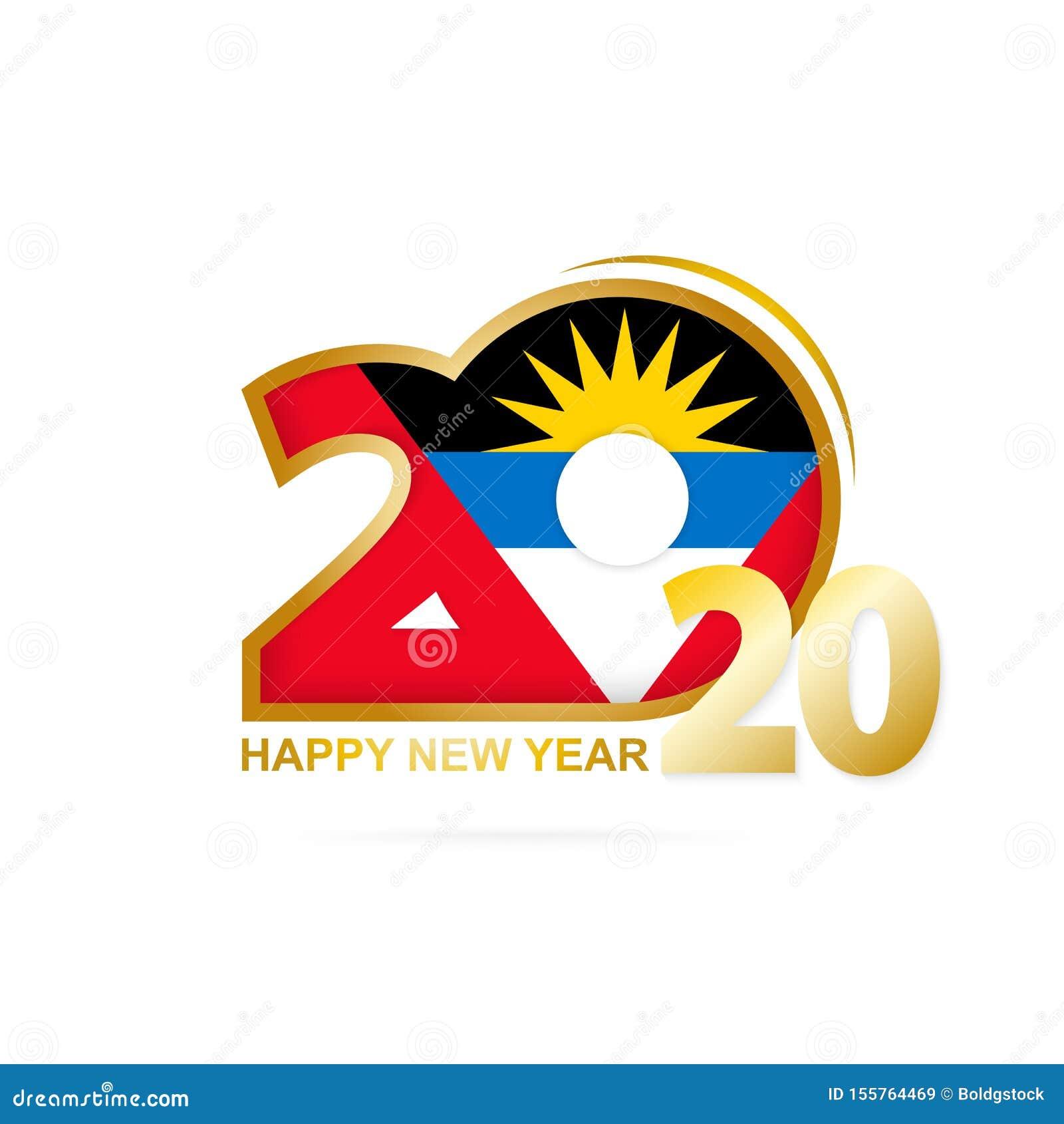 Année 2020 avec le modèle de drapeau de l Antigua-et-Barbuda Conception d an neuf heureux