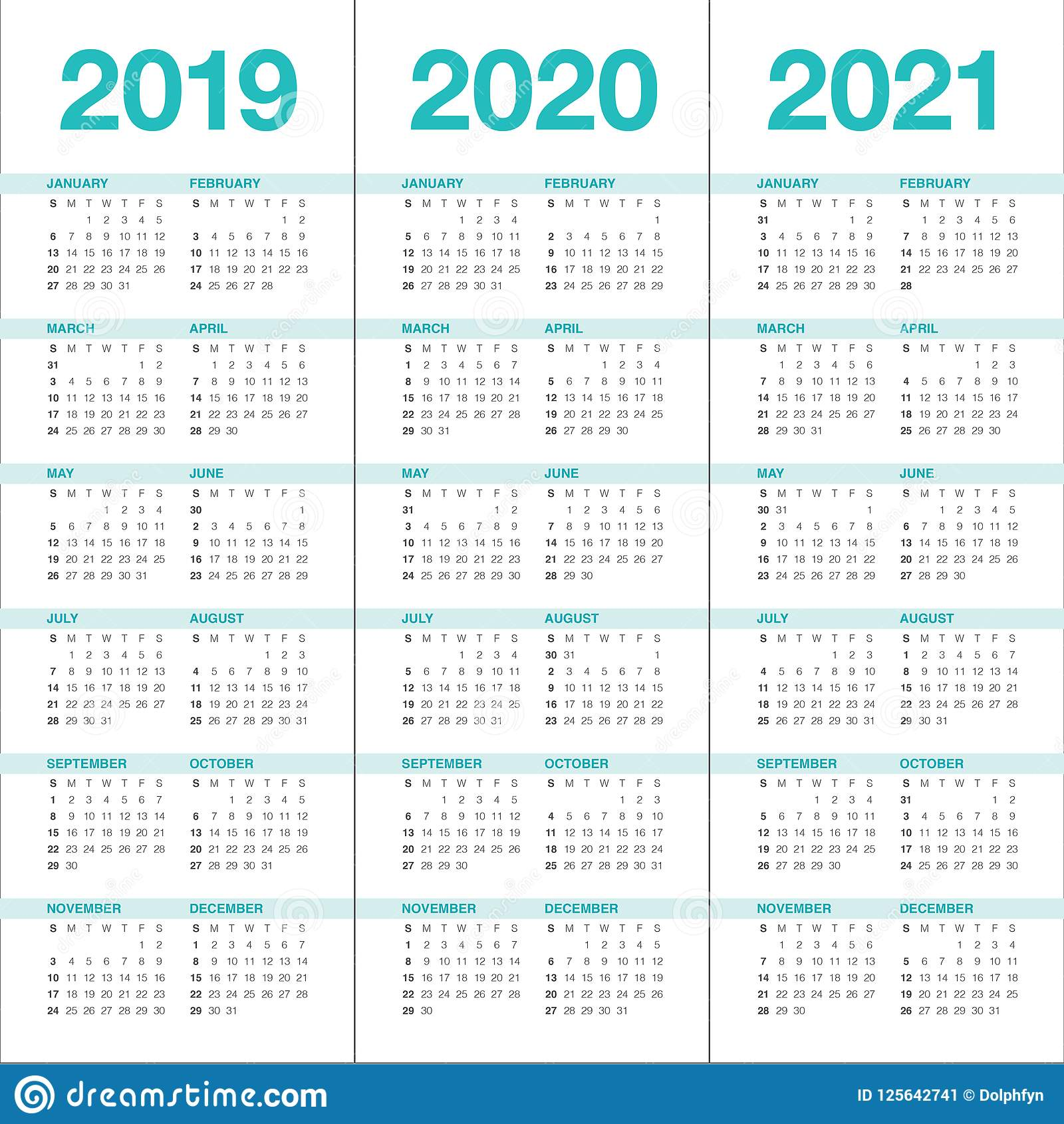 Calendrier Mensuel 2020 2019.Annee 2019 2020 Calibre De Conception De Vecteur De 2021