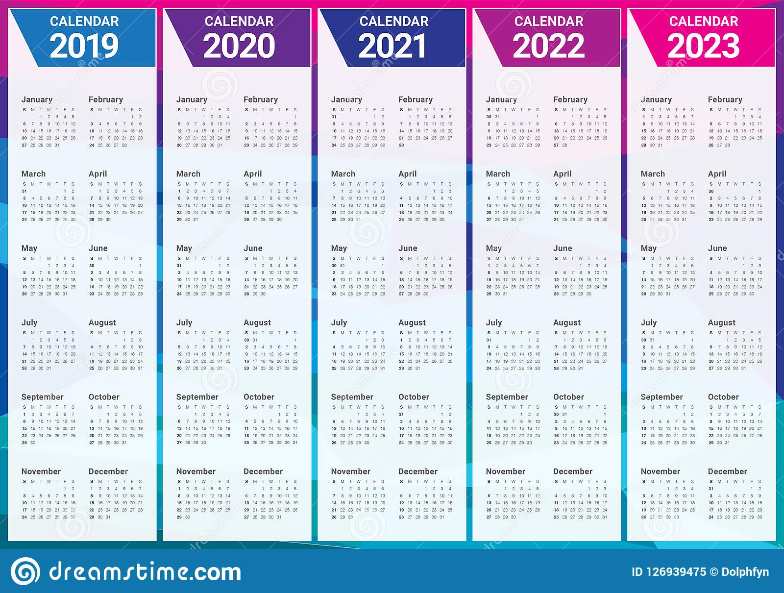 Calendrier Année 2022 2023 Année 2019 2020 2021 2022 Calibre De Conception De Vecteur De 2023