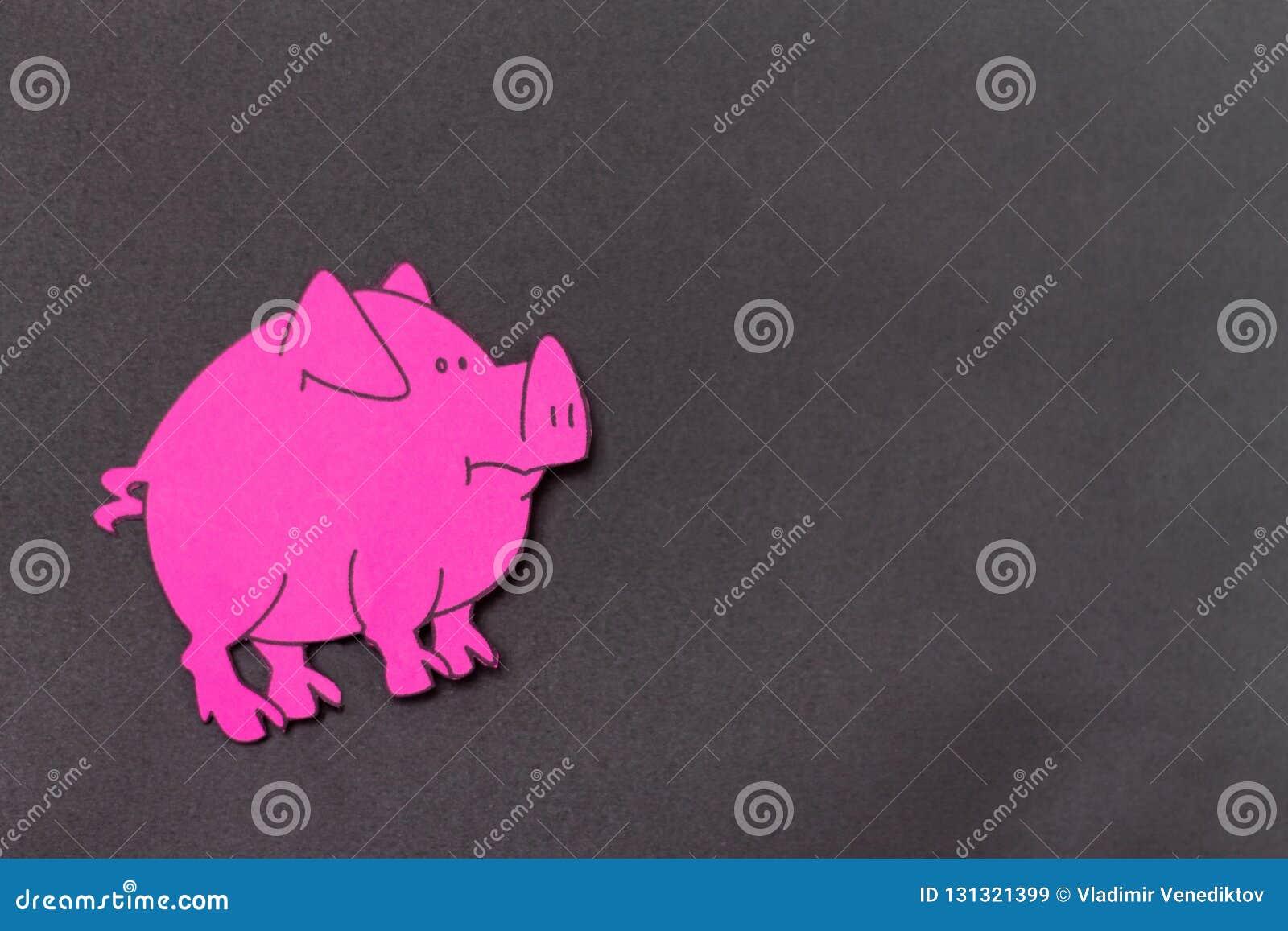 Année chinoise de signe de zodiaque de porc, porc de coupe de papier de rose, bonne année 2019 ans Fond noir