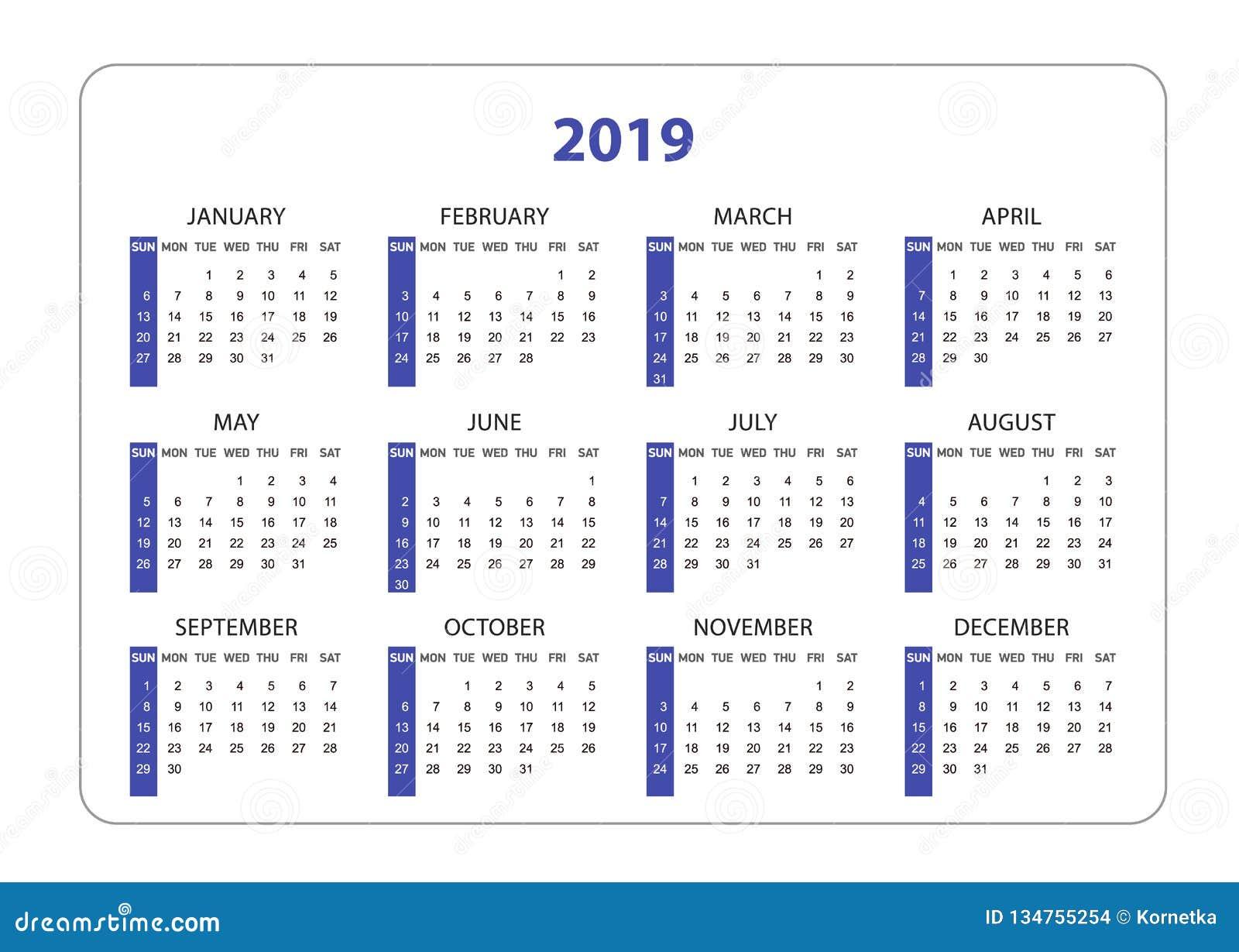 Calendrier De Poche 2019.Annee Horizontale De Calendrier De Poche Le 2019 Calibre