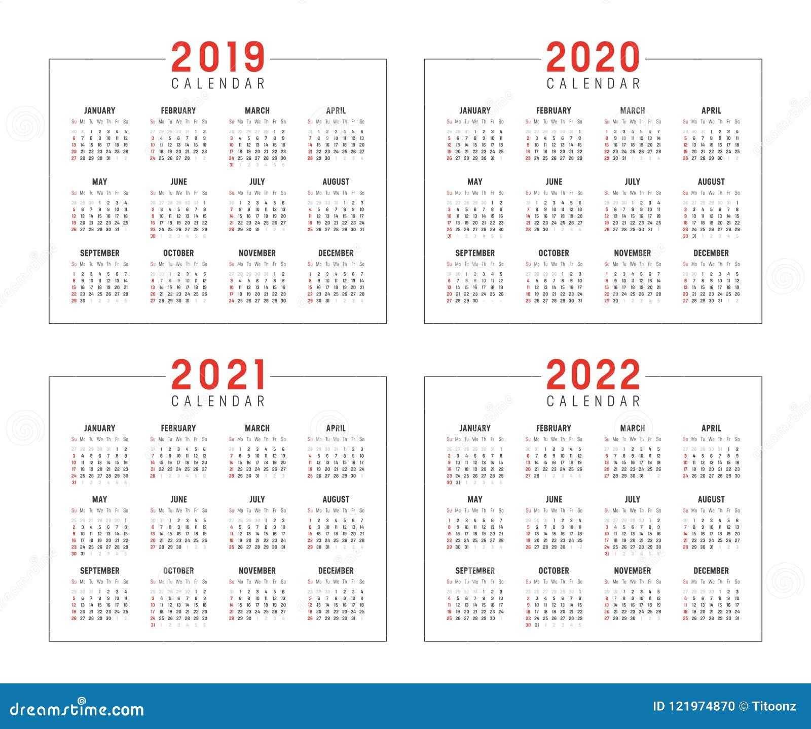 Années 2019 2020 2021 2022 Calendriers Illustration de Vecteur