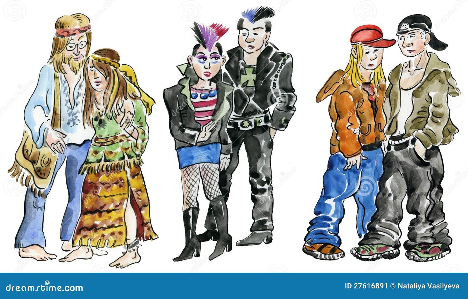 Années de l adolescence de Hippie, de punk et de roche