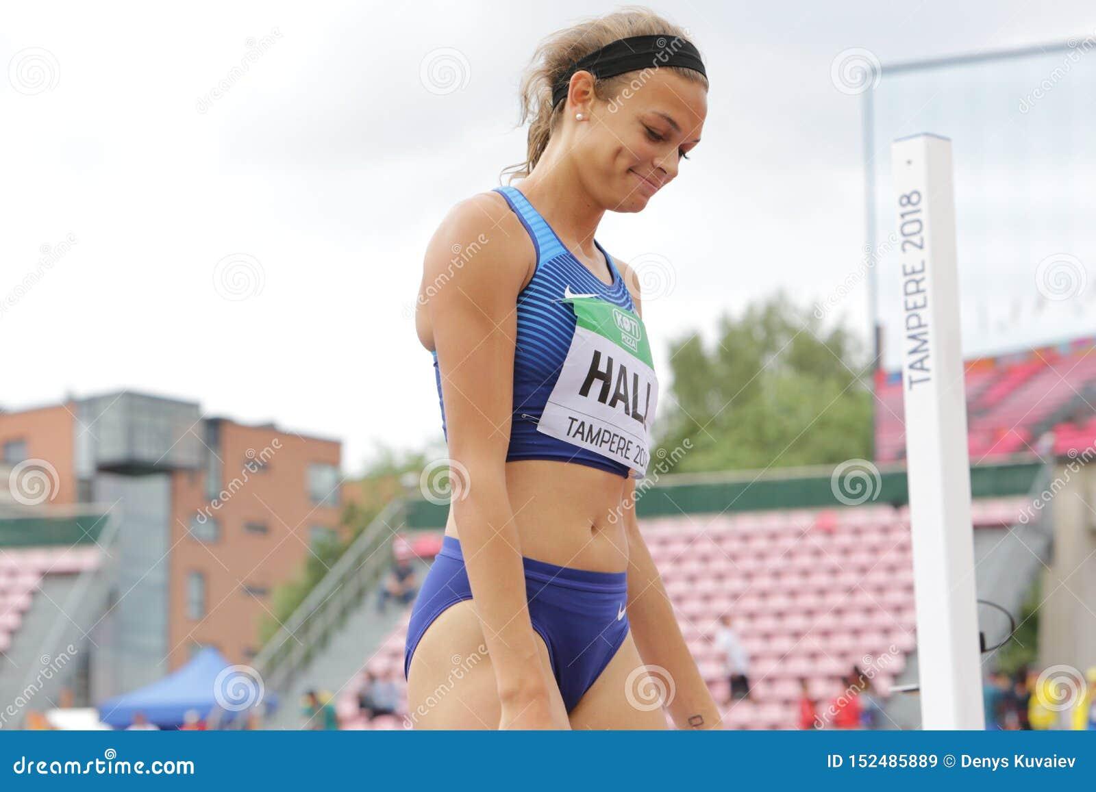ANNA HALL de V.S., Amerikaanse spoor en gebiedsatleet op heptathlongebeurtenis in de IAAF-Wereld U20