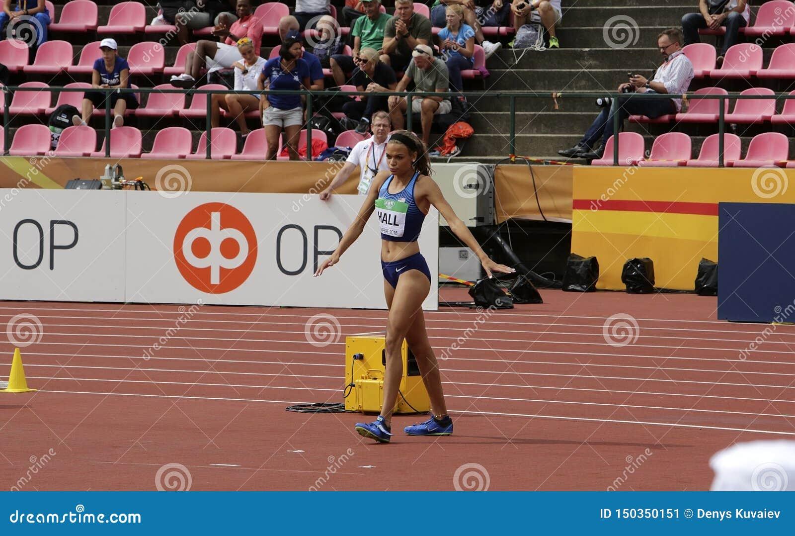 ANNA HALL U.S.A., atleta americano di atletica sull evento di heptathlon nel mondo U20 di IAAF