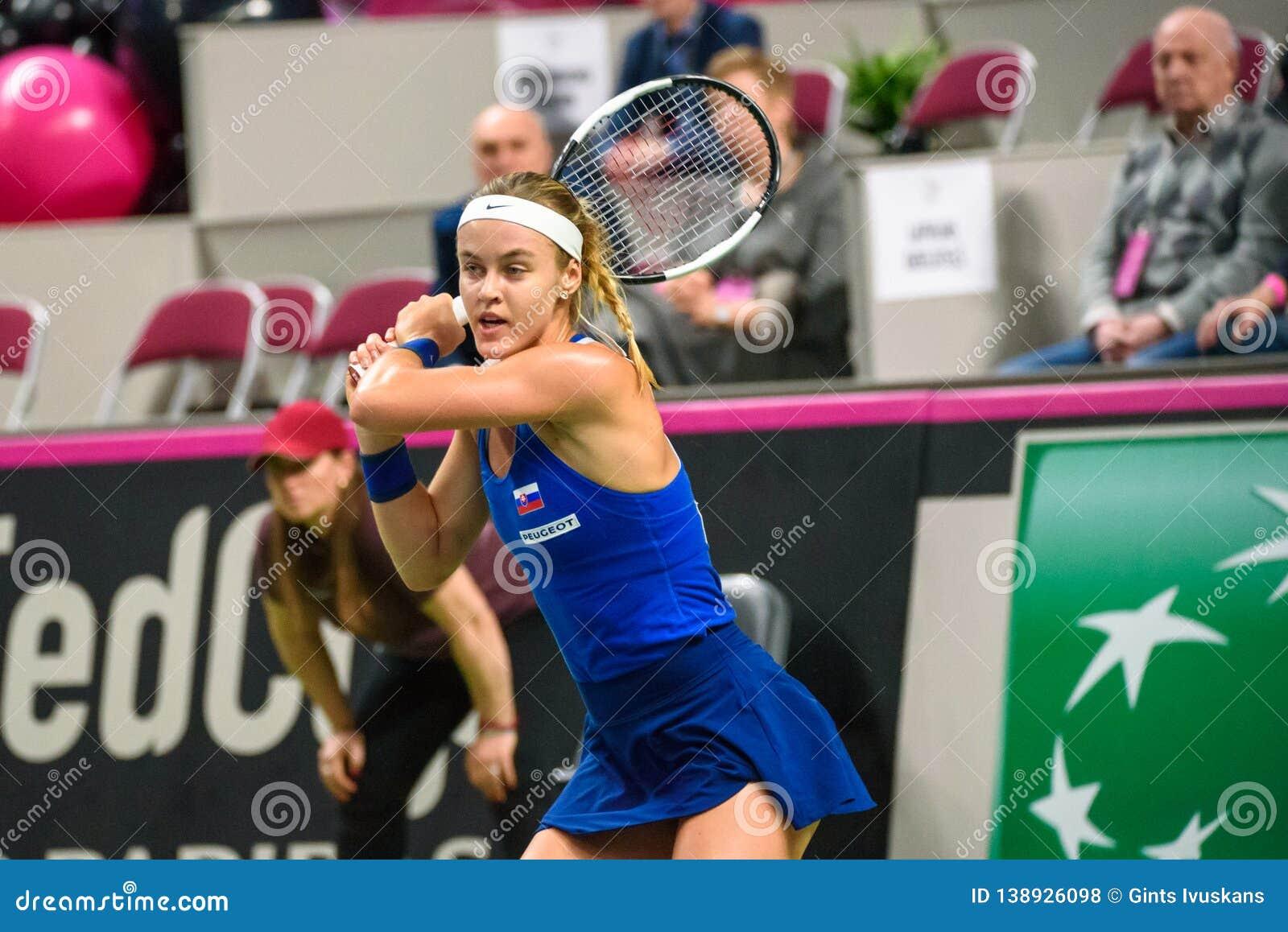 Anna Karolina Schmiedlova, tijdens Wereldgroep II Eerste Rond spel tussen team Letland en team Slowakije