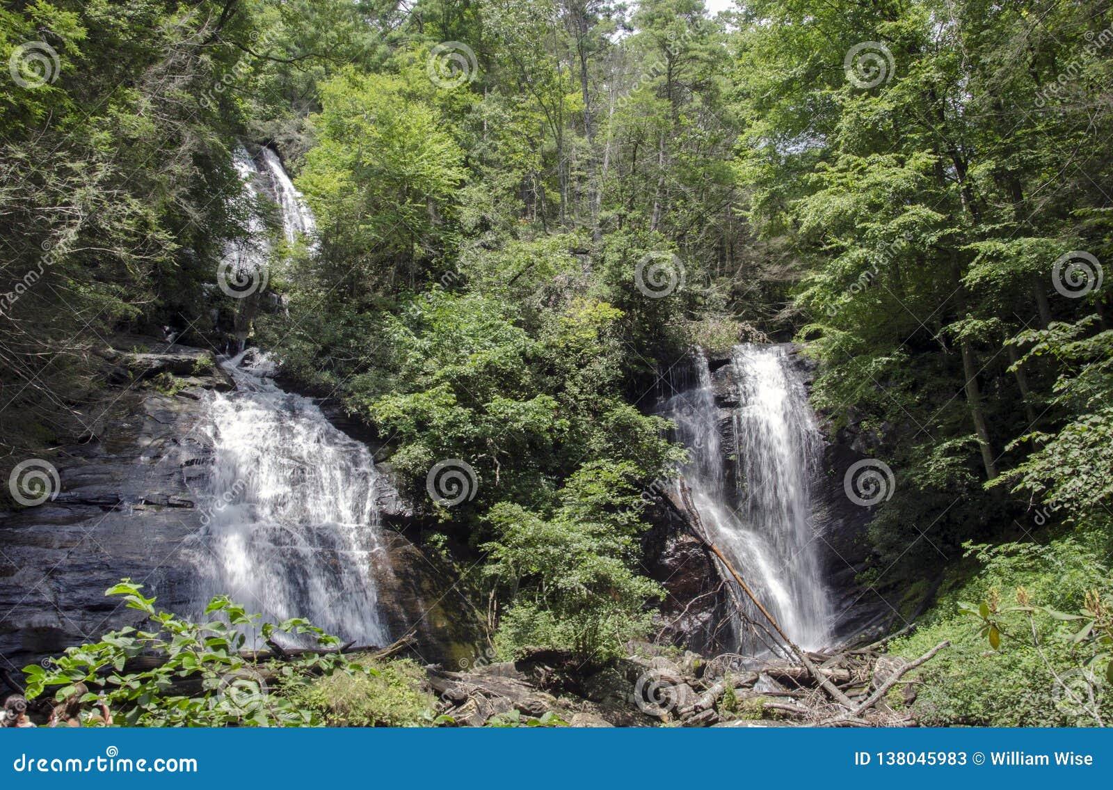 Anna Ruby Falls waterfall in North Georgia, USA