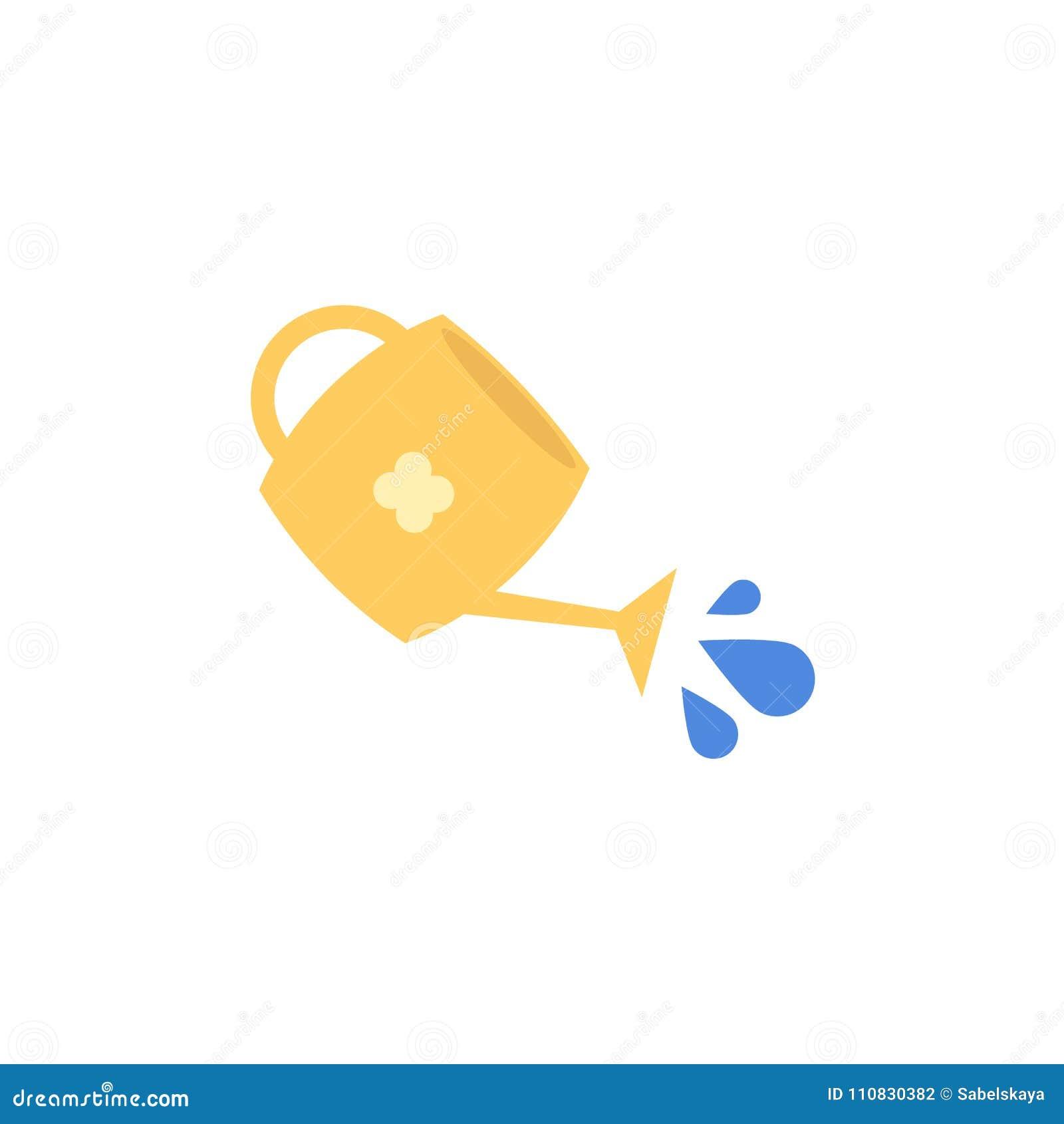 Annaffiatoio giallo piano di vettore con acqua di versamento