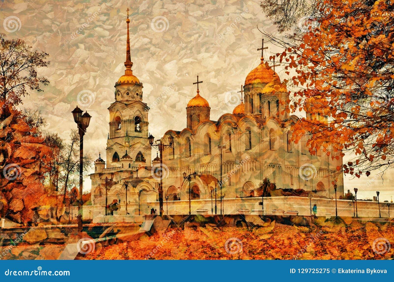 Annahme-Kathedrale in Vladimir, Russland Künstlerische Herbstcollage