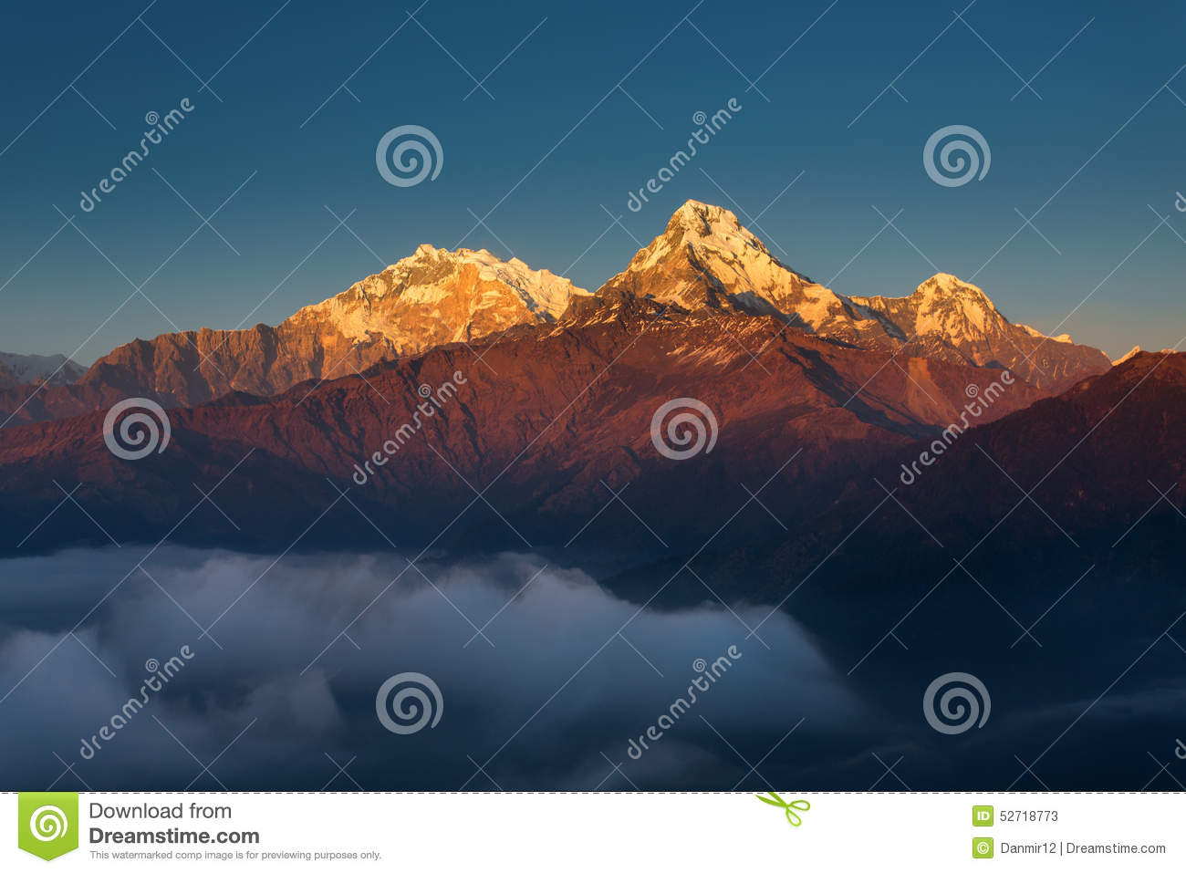 Annapurna I Himalaya Mountains View from Poon Hill 3210m at suns