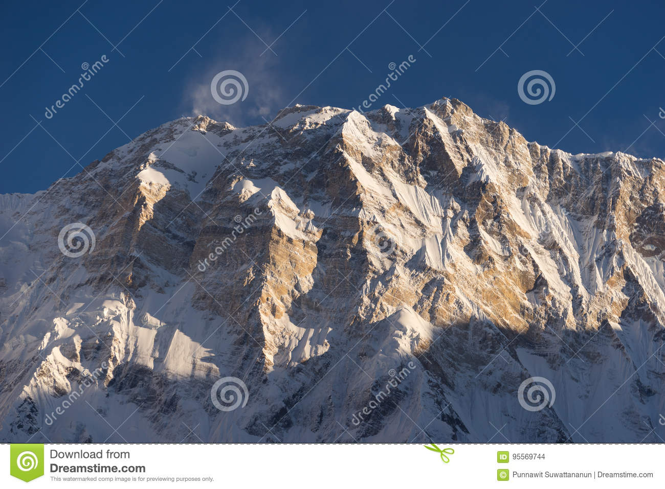 Annapurna I mountain peak at sunset, world 10th highest peak, AB