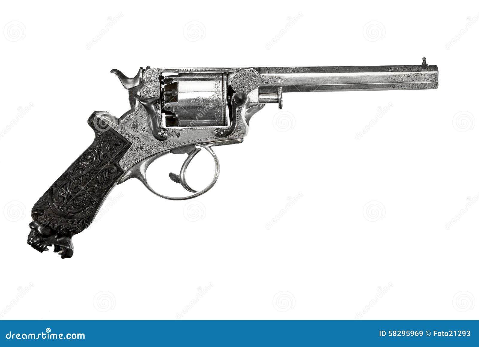 Annata decorata decorativa del revolver vecchia isolata su bianco