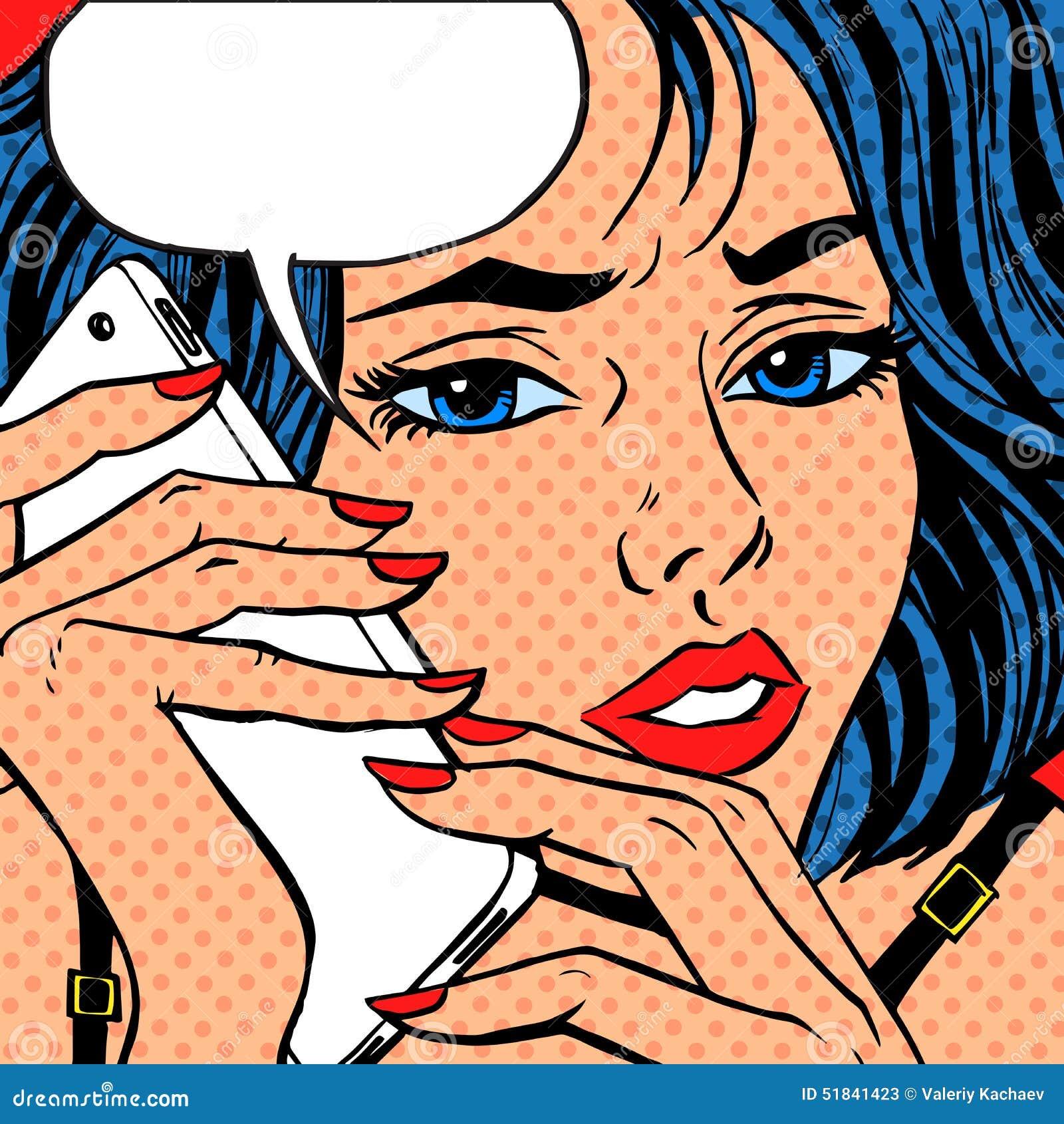 Annata di Pop art di conversazione del telefono della ragazza comica