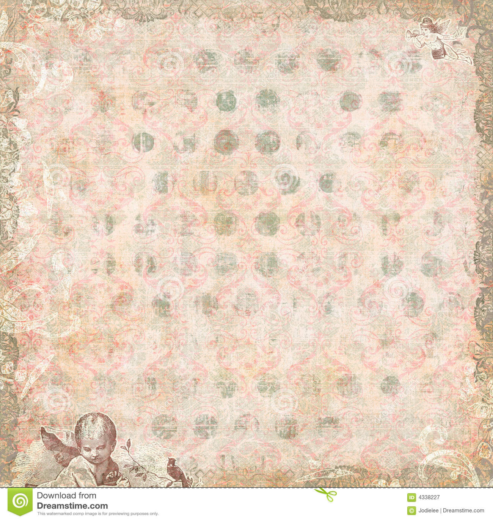 Annata floreale e carta da parati di angeli illustrazione for Carta da parati bohemian