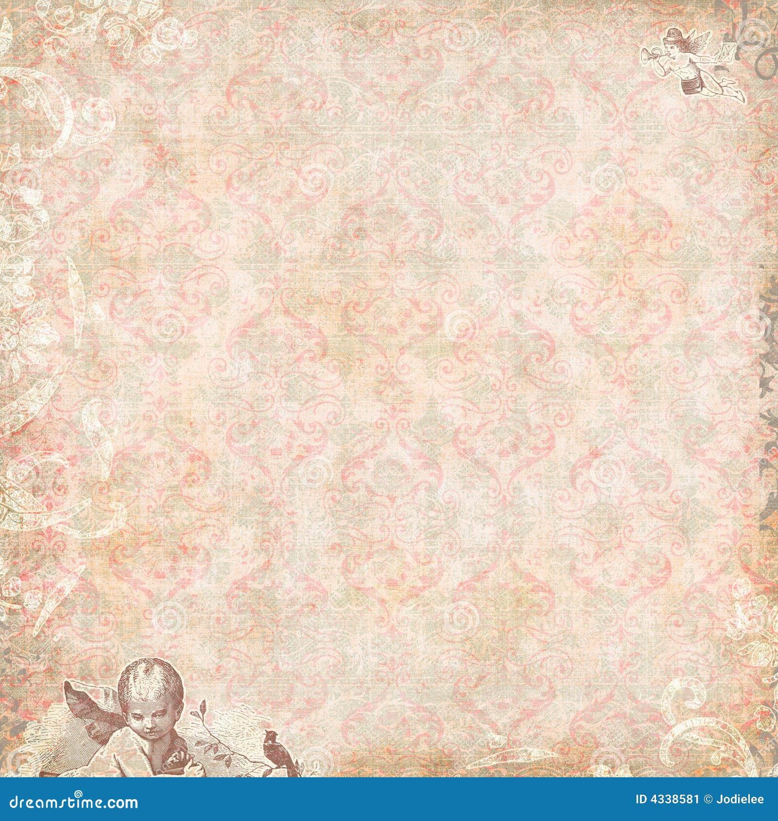 Annata floreale e carta da parati di angeli immagine stock for Stock carta da parati