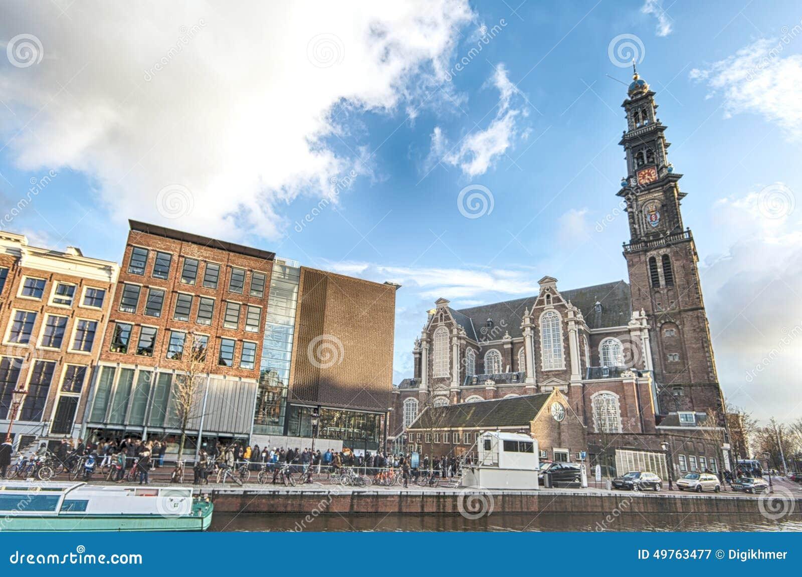 Anne Frank hus och förintelsemuseum i Amsterdam