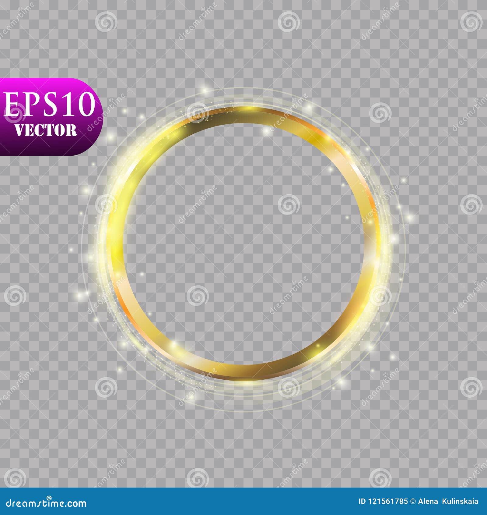 Anneau d or de luxe abstrait sur le fond transparent Effet de la lumière de projecteur léger de cercles de vecteur Couleur d or r