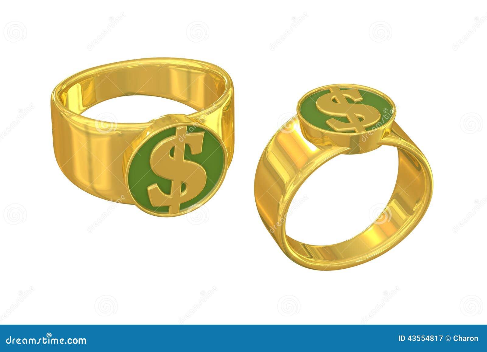 anneau d 39 or de symbole dollar de la richesse illustration stock illustration du couleur. Black Bedroom Furniture Sets. Home Design Ideas
