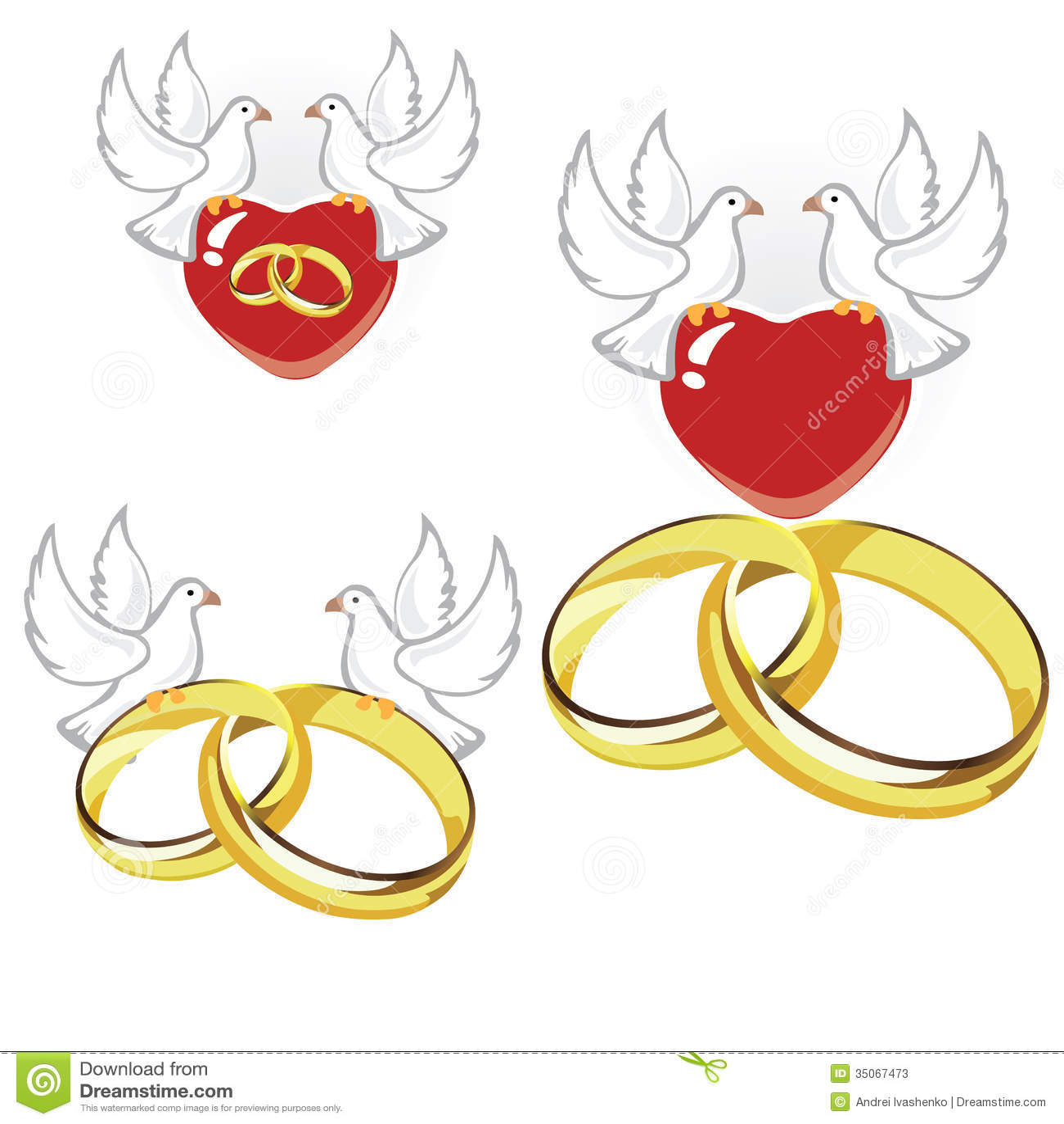Anneaux, coeurs et colombes de mariage. Illustration de vecteur.