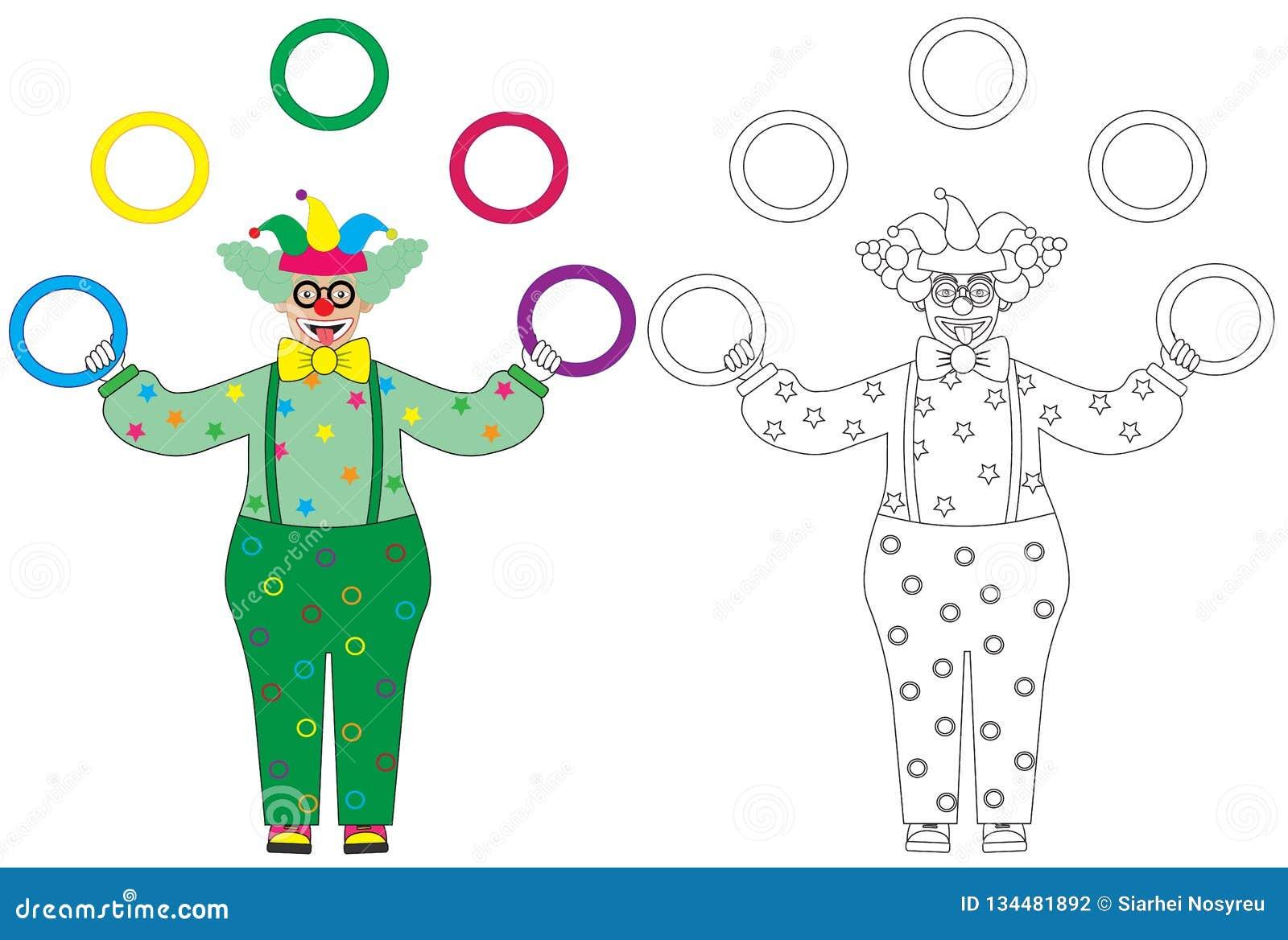 Coloriage Clown Drole.Anneaux De Clown Drole Colore De Jonglerie Et Livre De