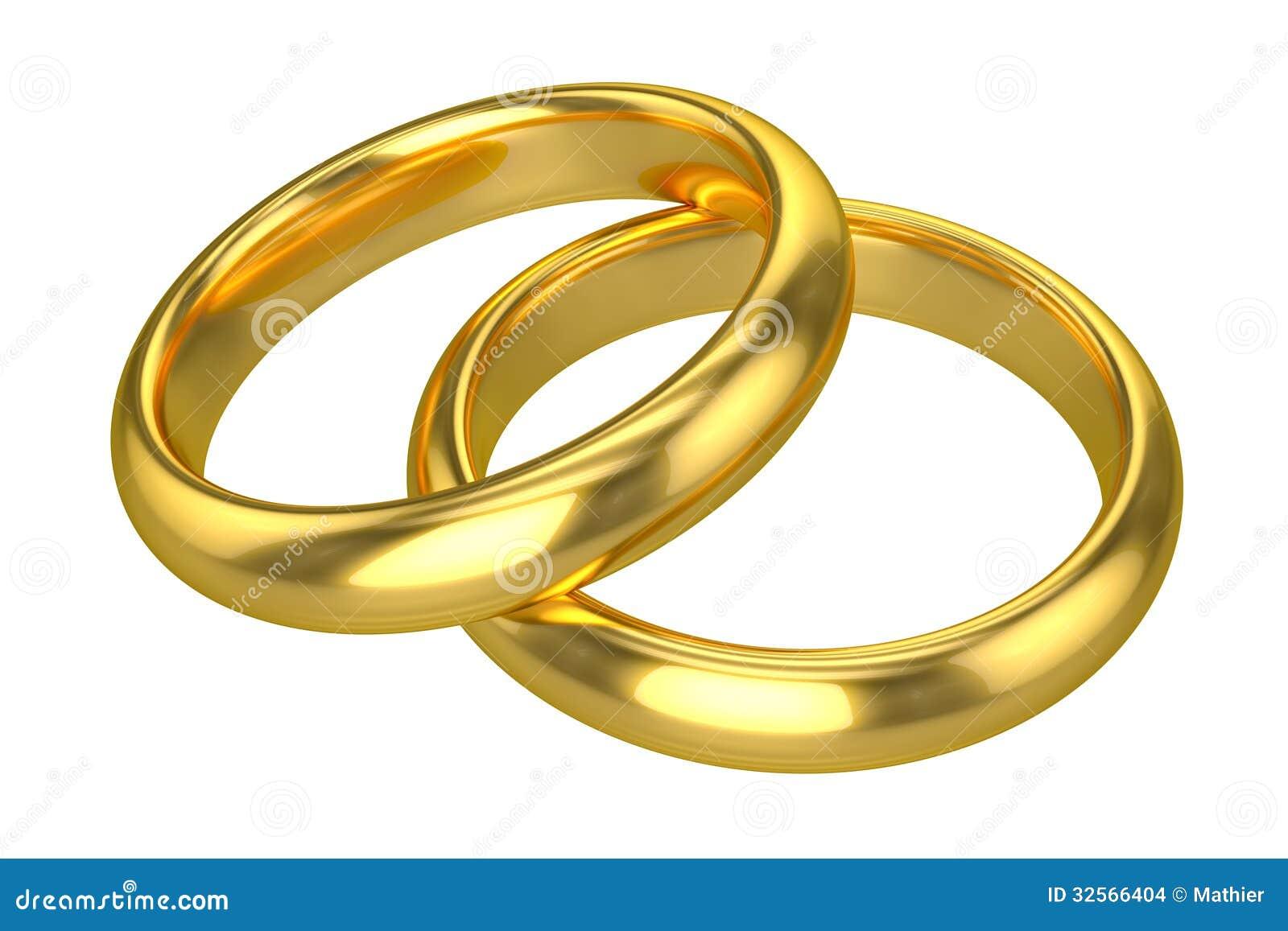 Anneaux de mariage réalistes - or (disolement sur le fond blanc ou ...