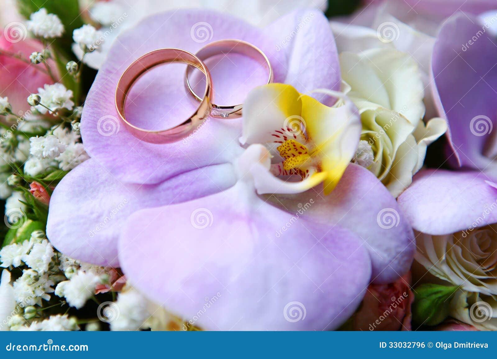 Anneaux De Mariage Sur Lorchidée Image libre de droits - Image ...