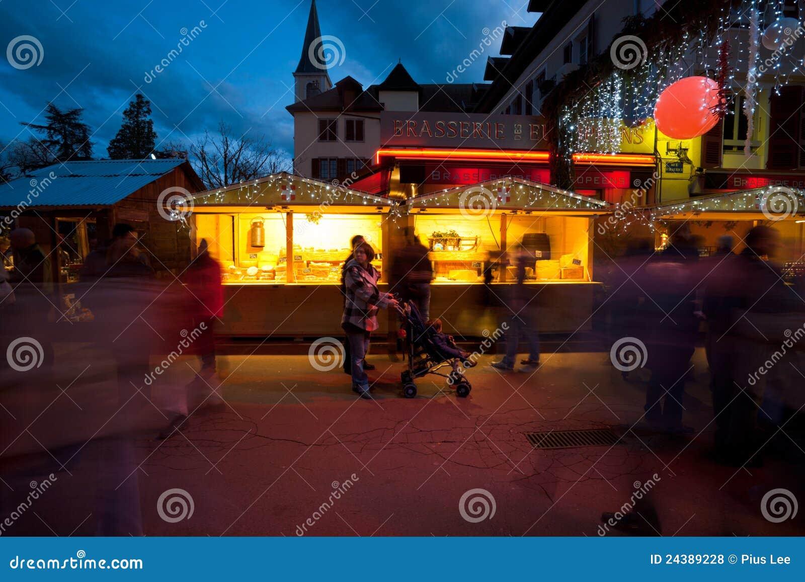 Annecy het Chalet van de Markt van Kerstmis