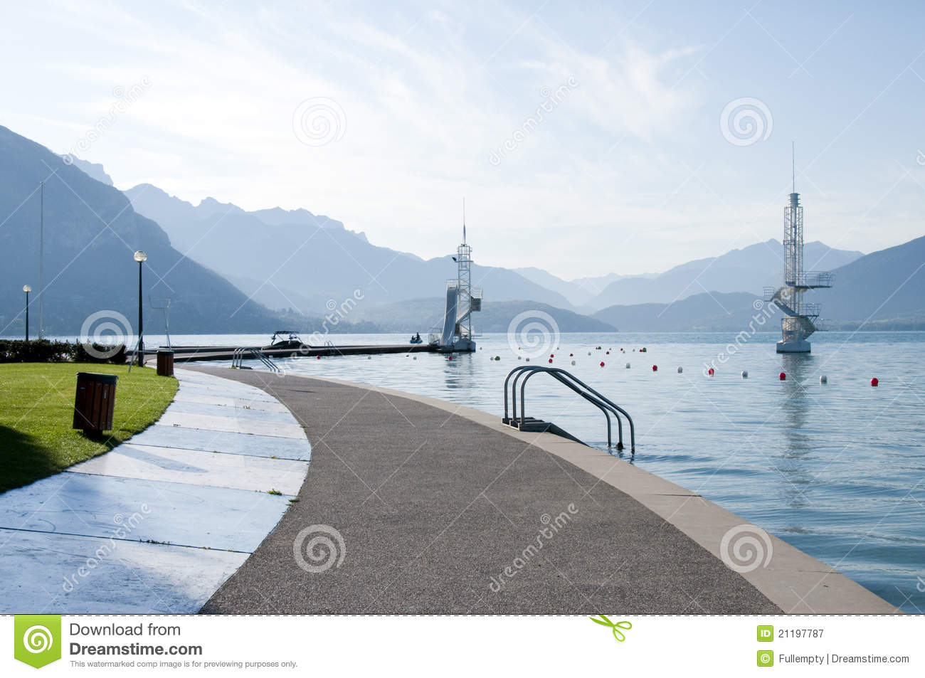 Annecy lake and diving board