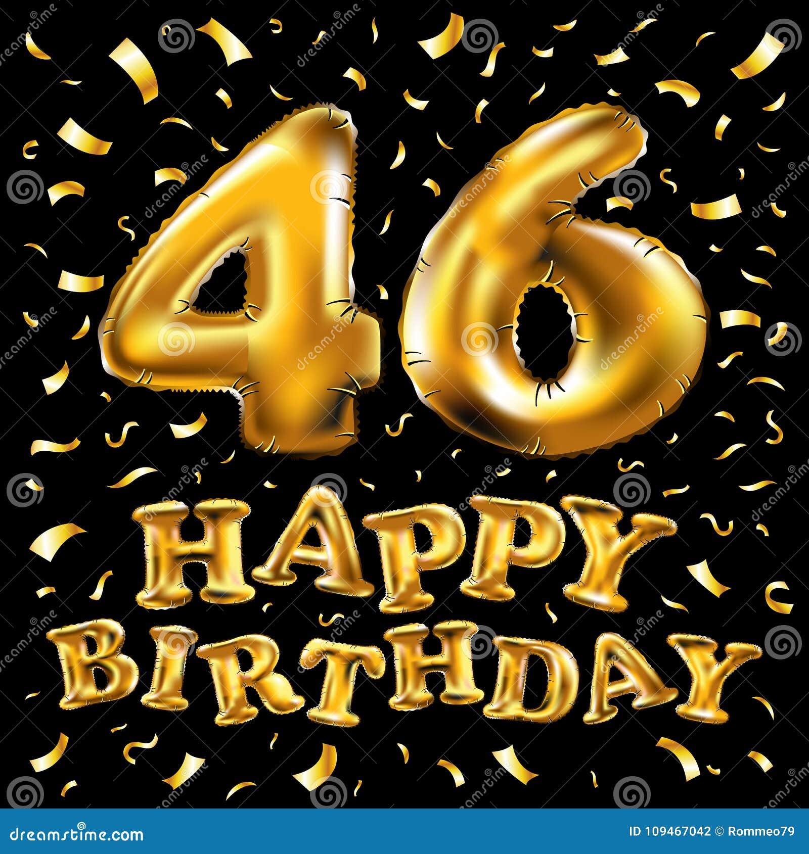 46 Anni Di Anniversario Di Celebrazione Dorata Di Logo Con Lanello