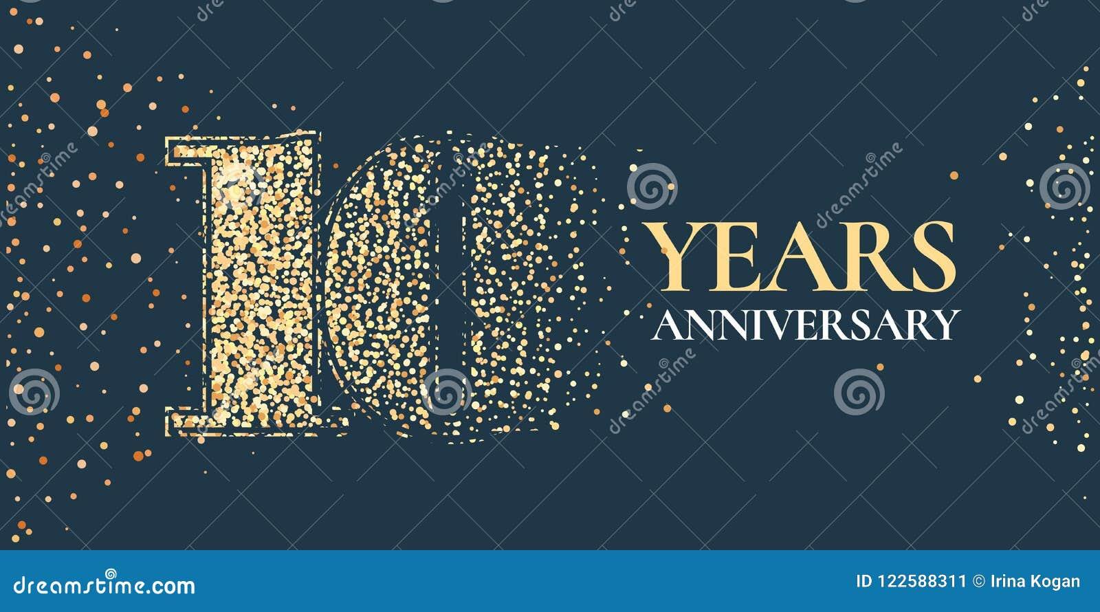 10 anni di anniversario di celebrazione di icona di vettore, logo
