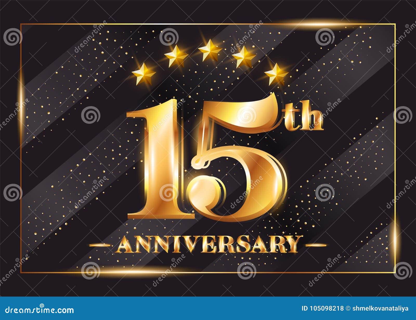 Quindicesimo Anniversario Di Matrimonio.15 Anni Di Anniversario Di Celebrazione Di Logo Di Vettore